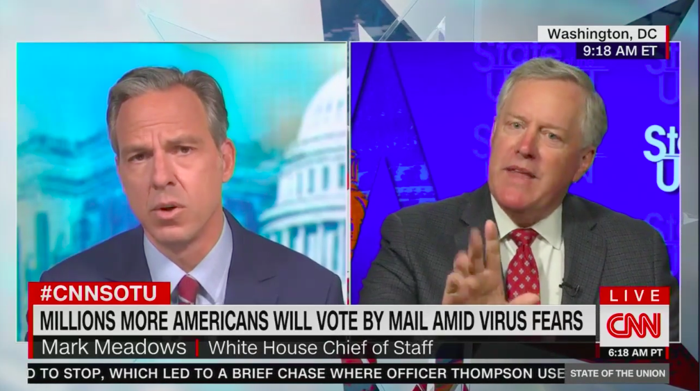 White House chief of staff Mark Meadows clashes with CNN's Jake Tapper over mail-in voting thumbnail