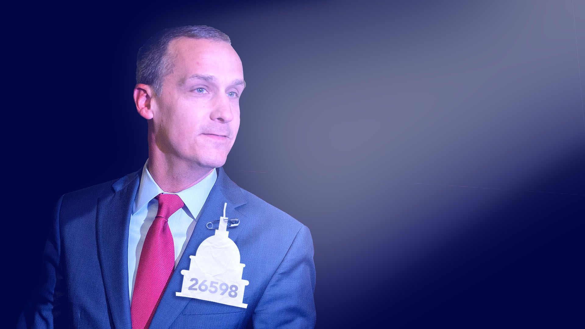 Illustration of Corey Lewandowski with a spotlight on hm and number pinned to his chest in the shape of the Capitol building