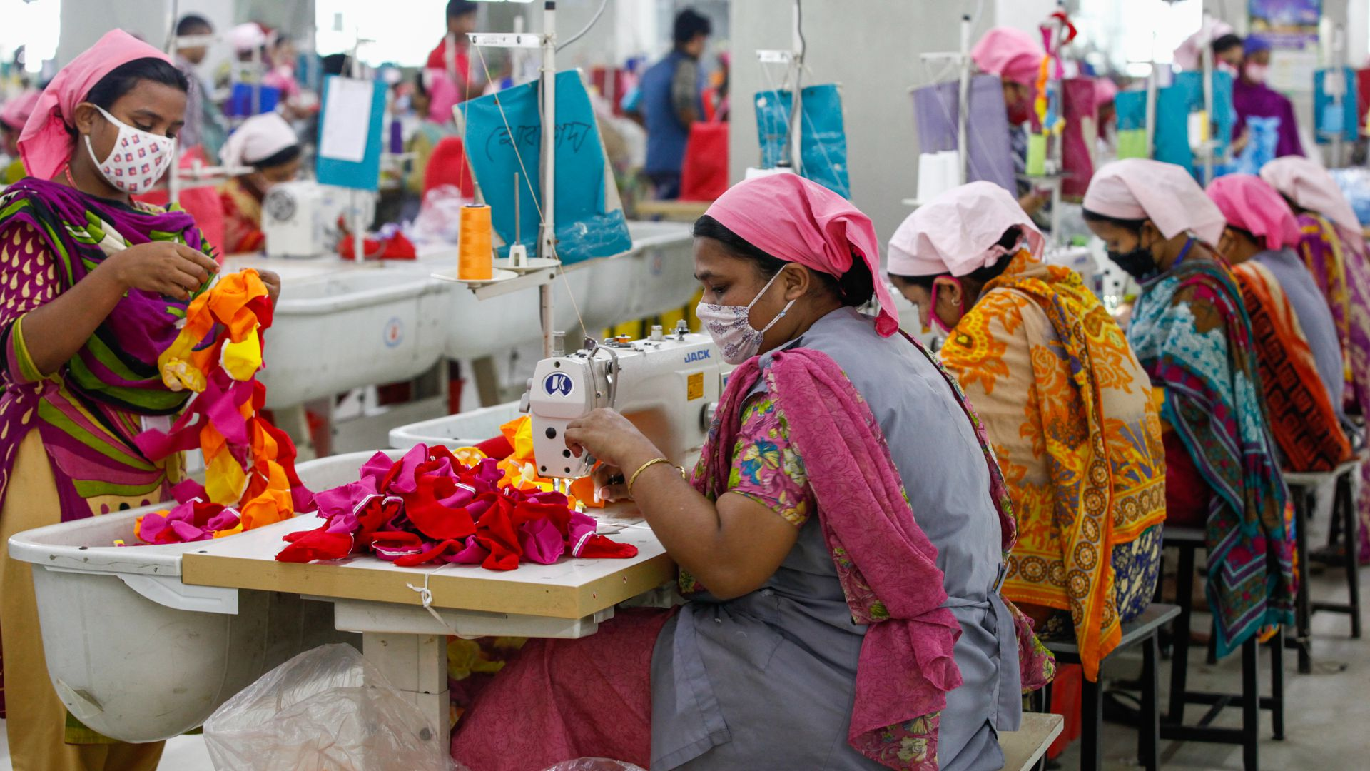 Bangladeshi workers at a garments factory in Gazipur outskirts of Dhaka.