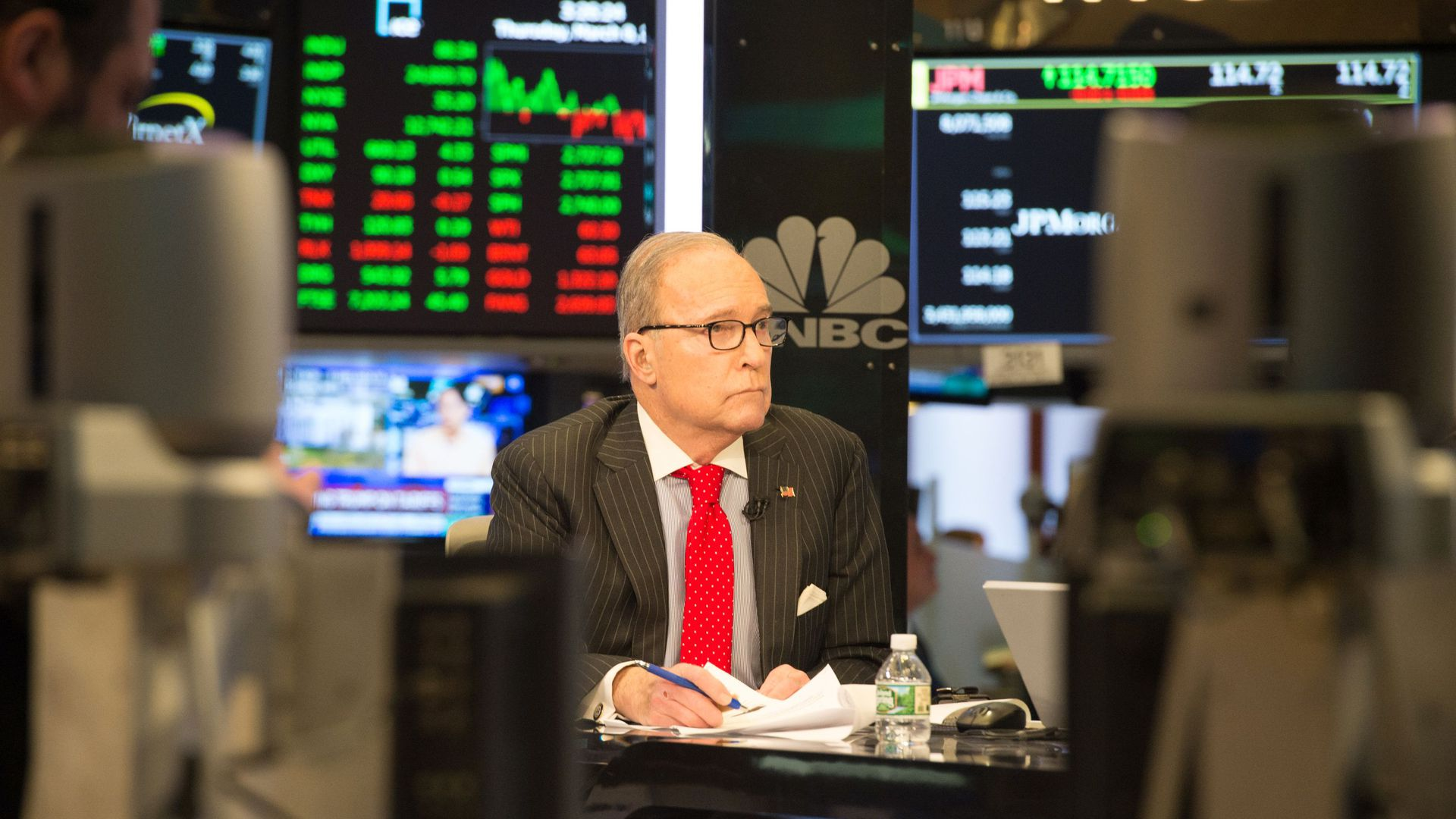 Kudlow in a TV studio