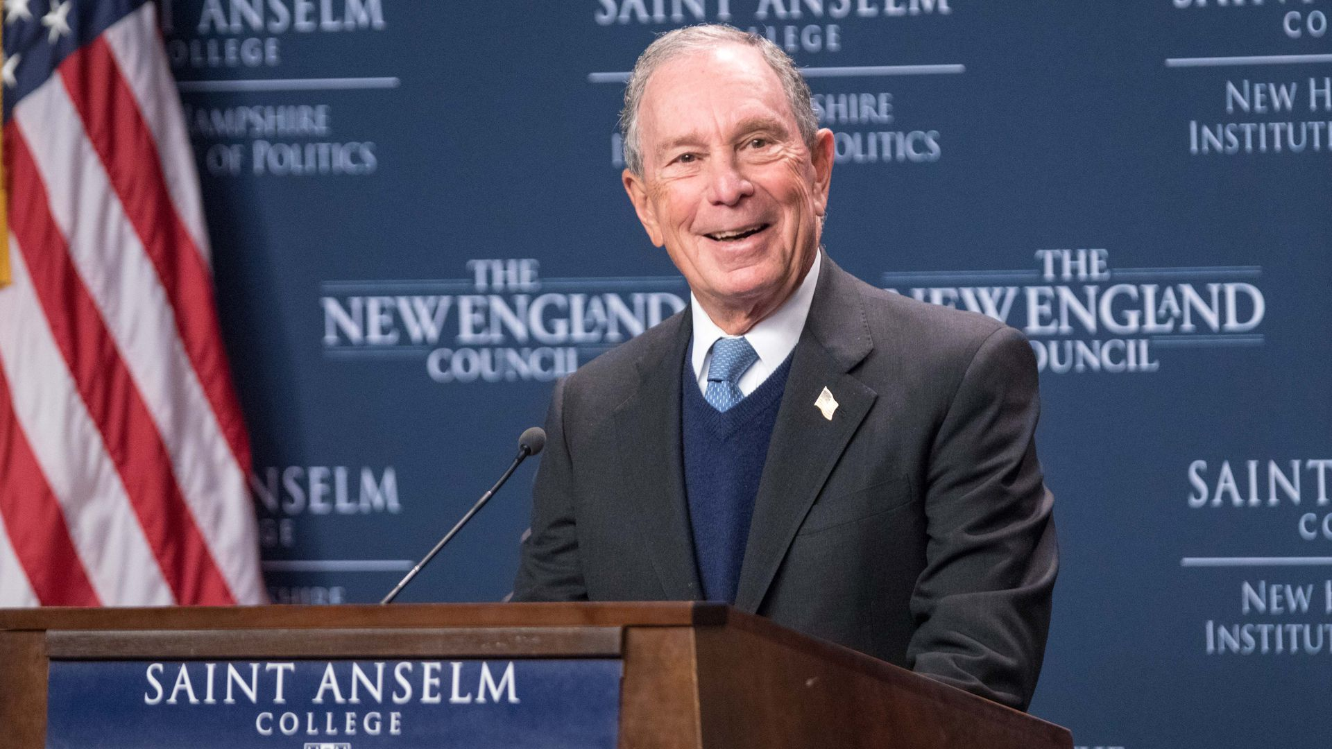 Former New York City Mayor Michael Bloomberg speaks about the climate at the New Hampshire Institute of Politics on January 29, 2019 in Manchester, New Hampshire.