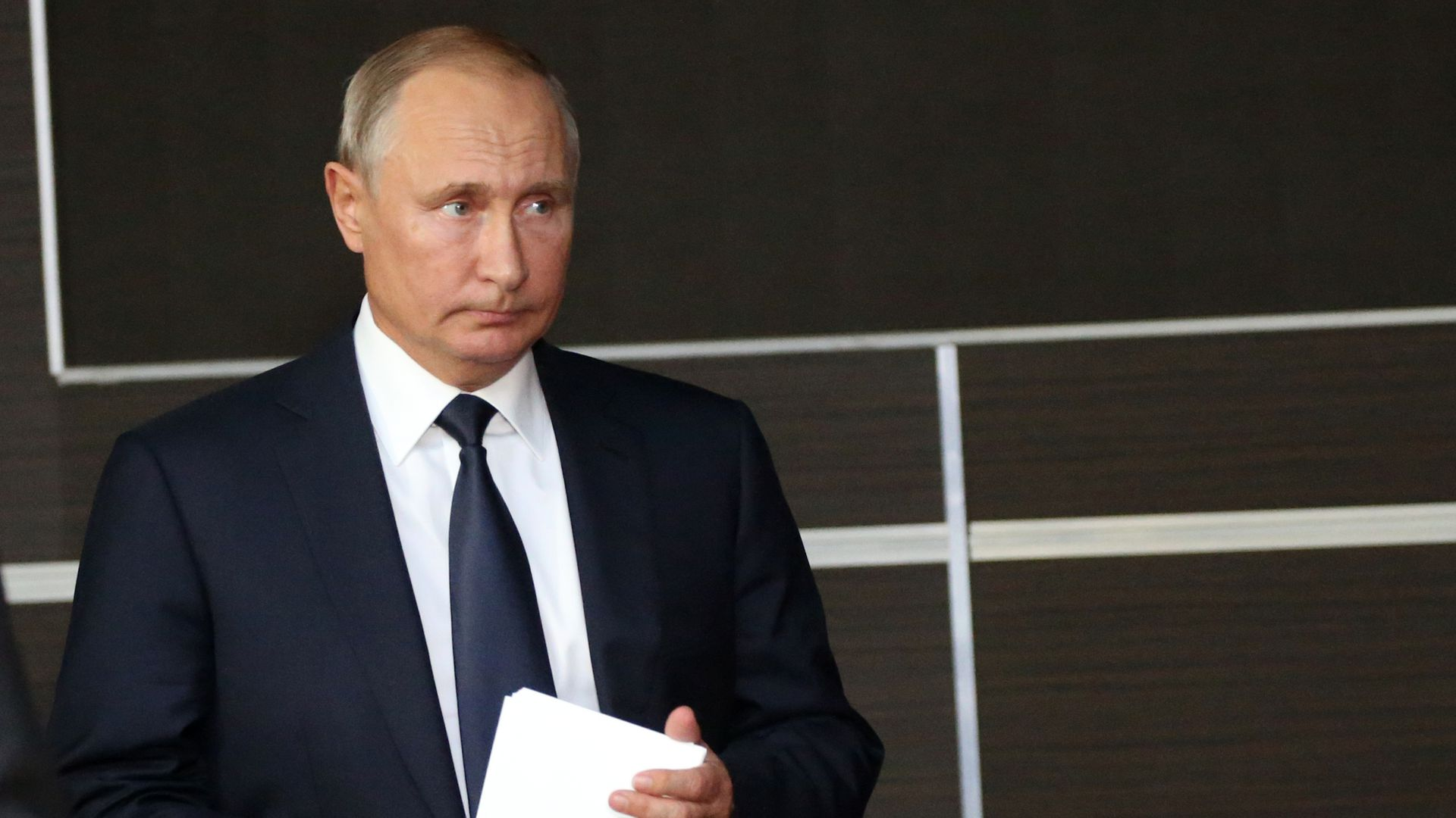 Vladimir Putin looks concerned and sad