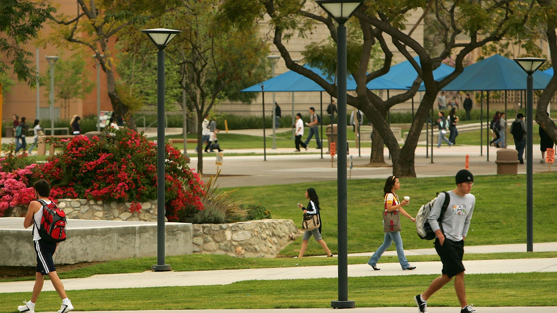 Students walk on the campus of California State University.