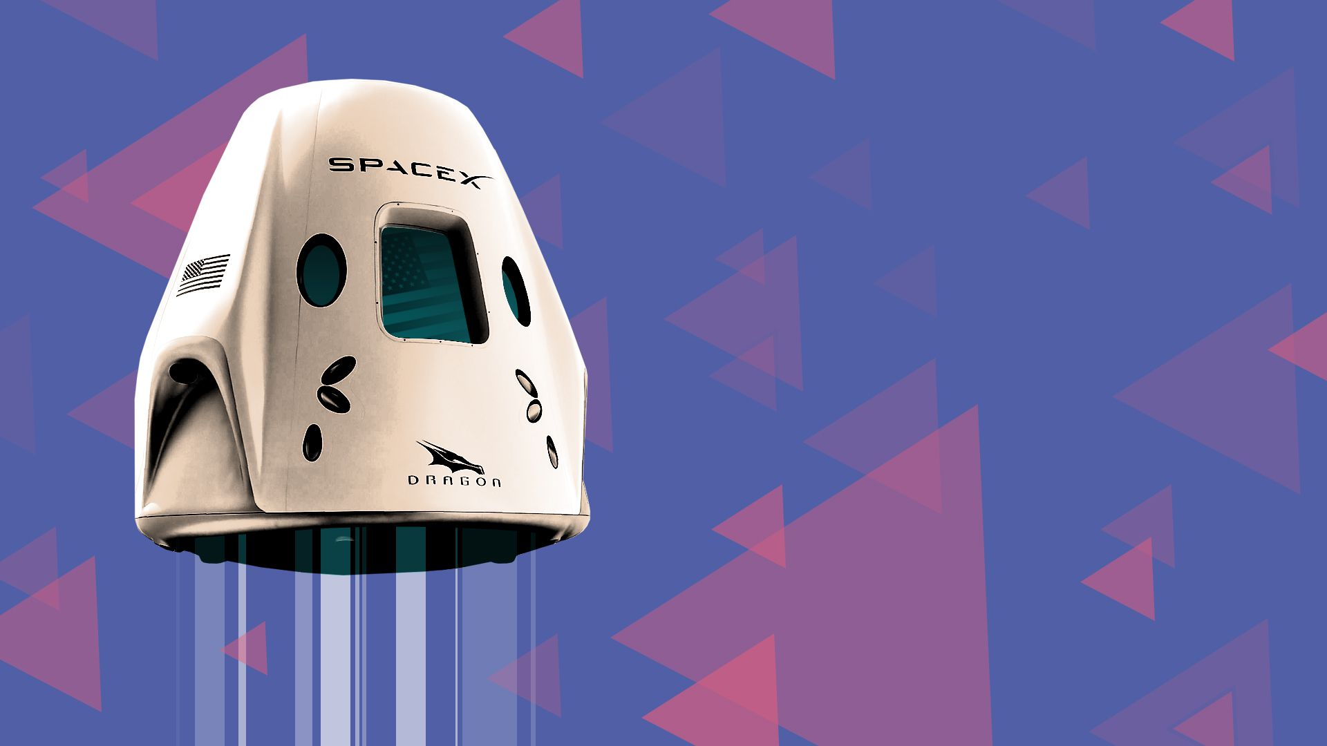 Illustration of a SpaceX Crew Dragon spacecraft.