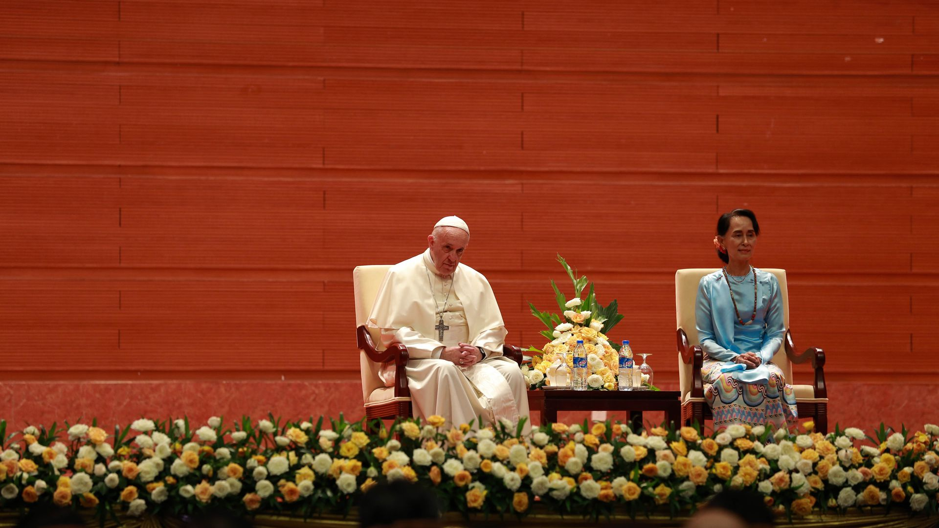 Pope Francis and Myanmar's civilian leader Aung San Suu Kyi.