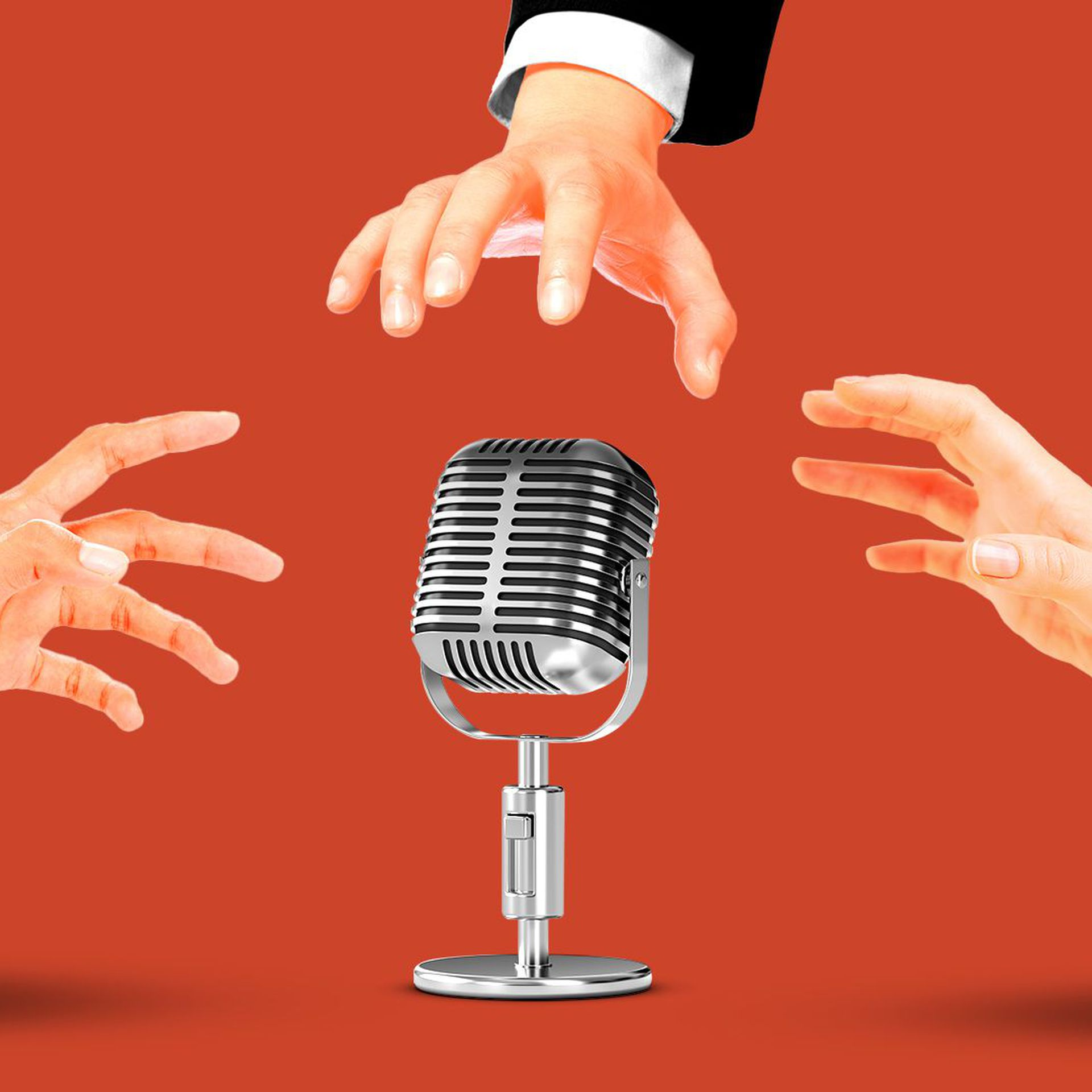 Illustration of hands reaching out for an old fashioned microphone.