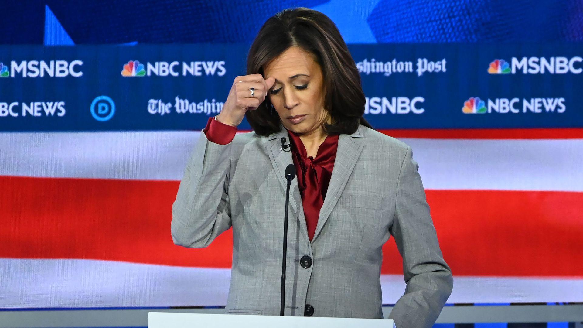 Sen. Kamala Harris on the debate stage