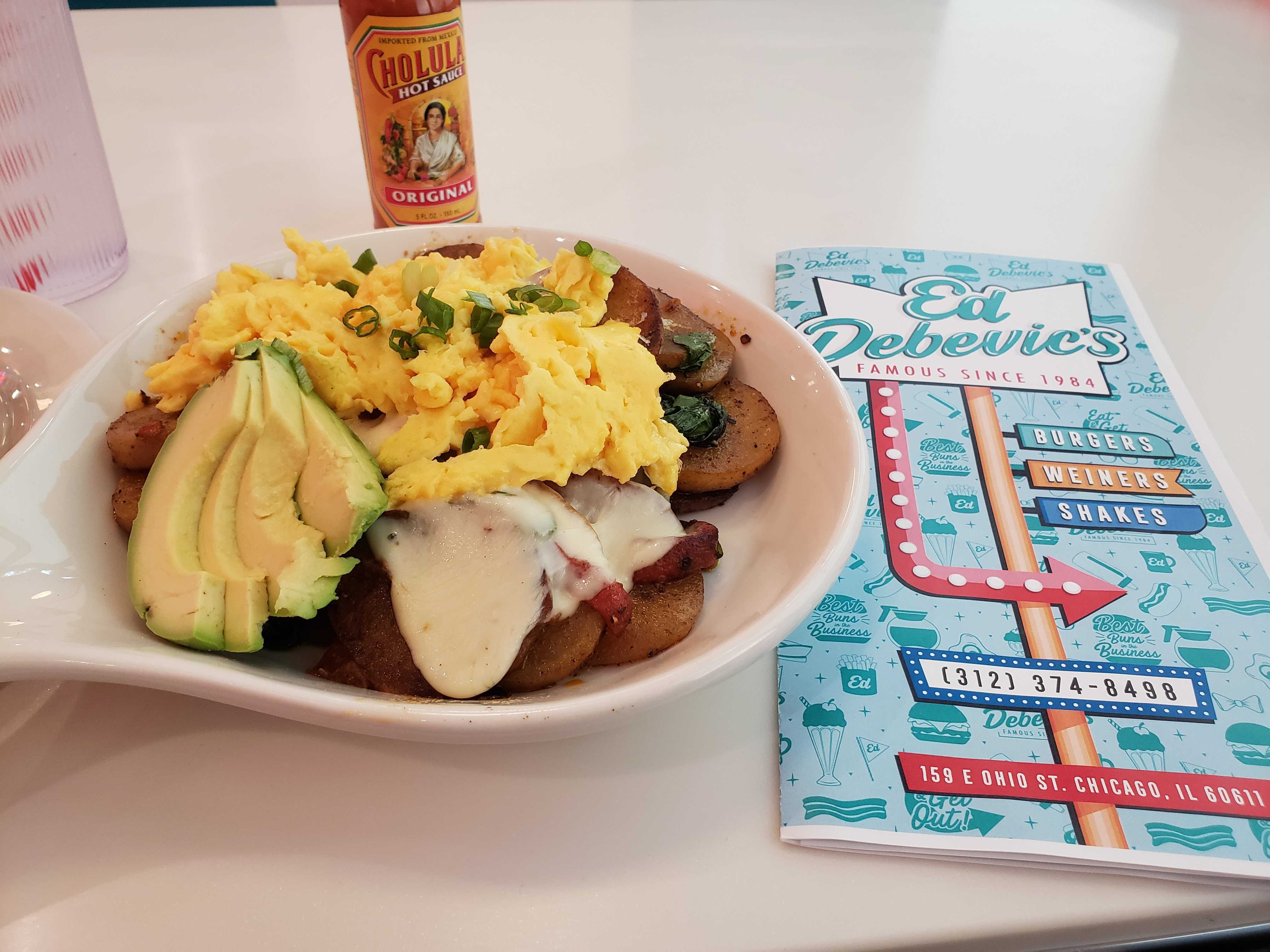 Eggs and avocados on a table at Ed Debevics.