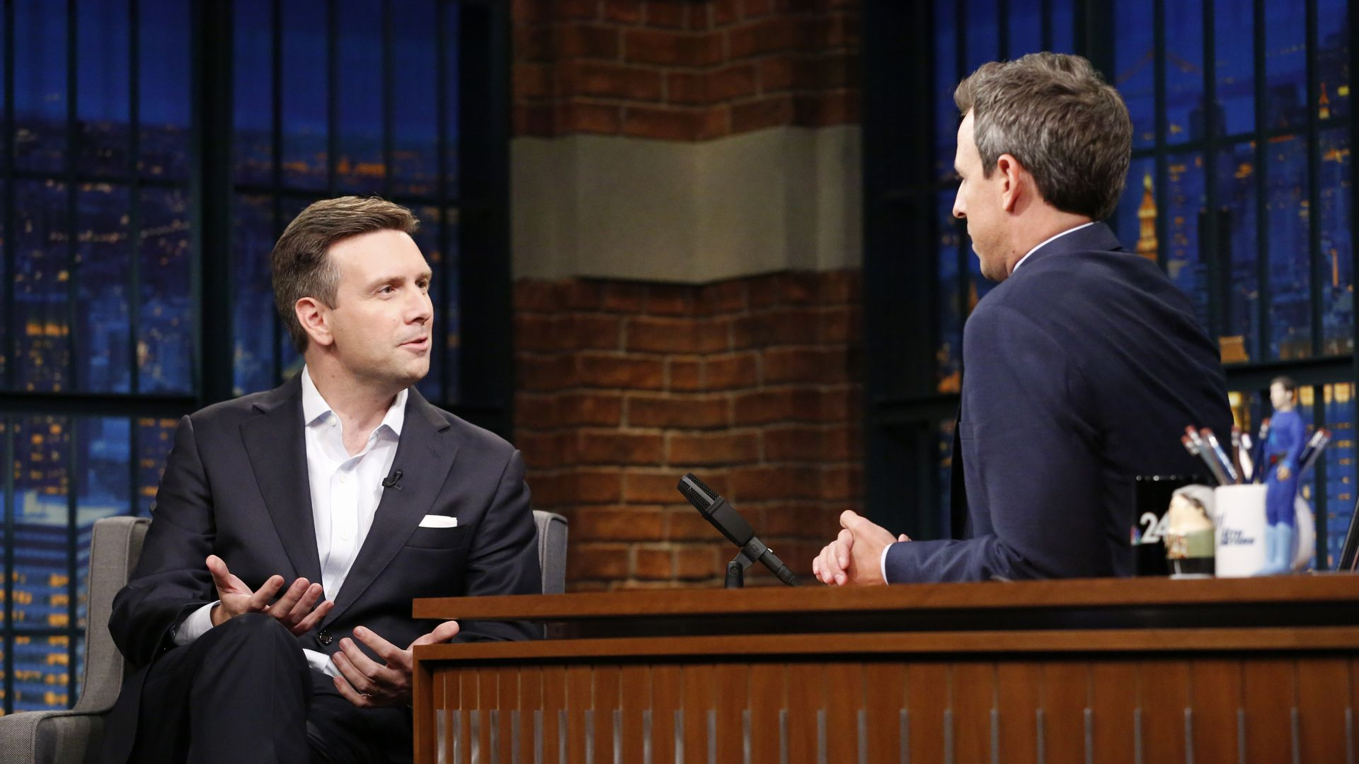 Earnest faces Meyers on the set of the talk show