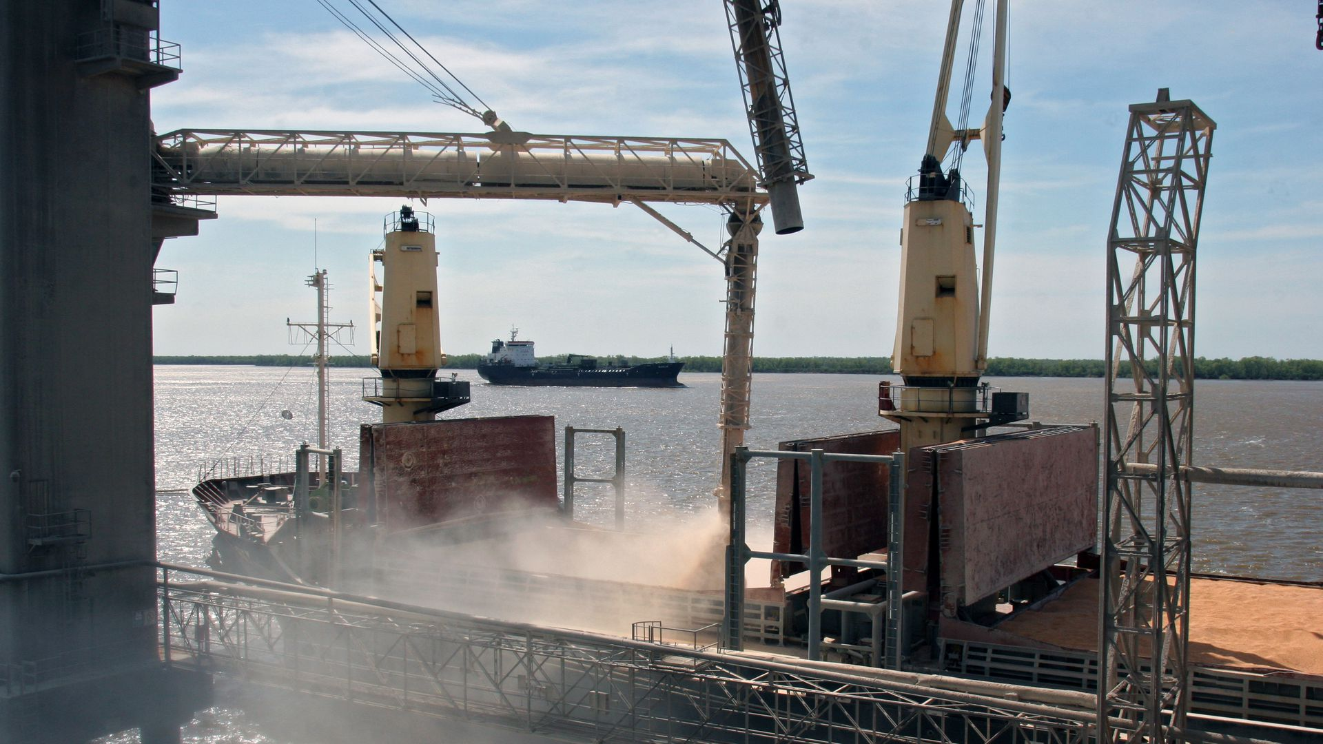 Soybeans being loaded onto a ship