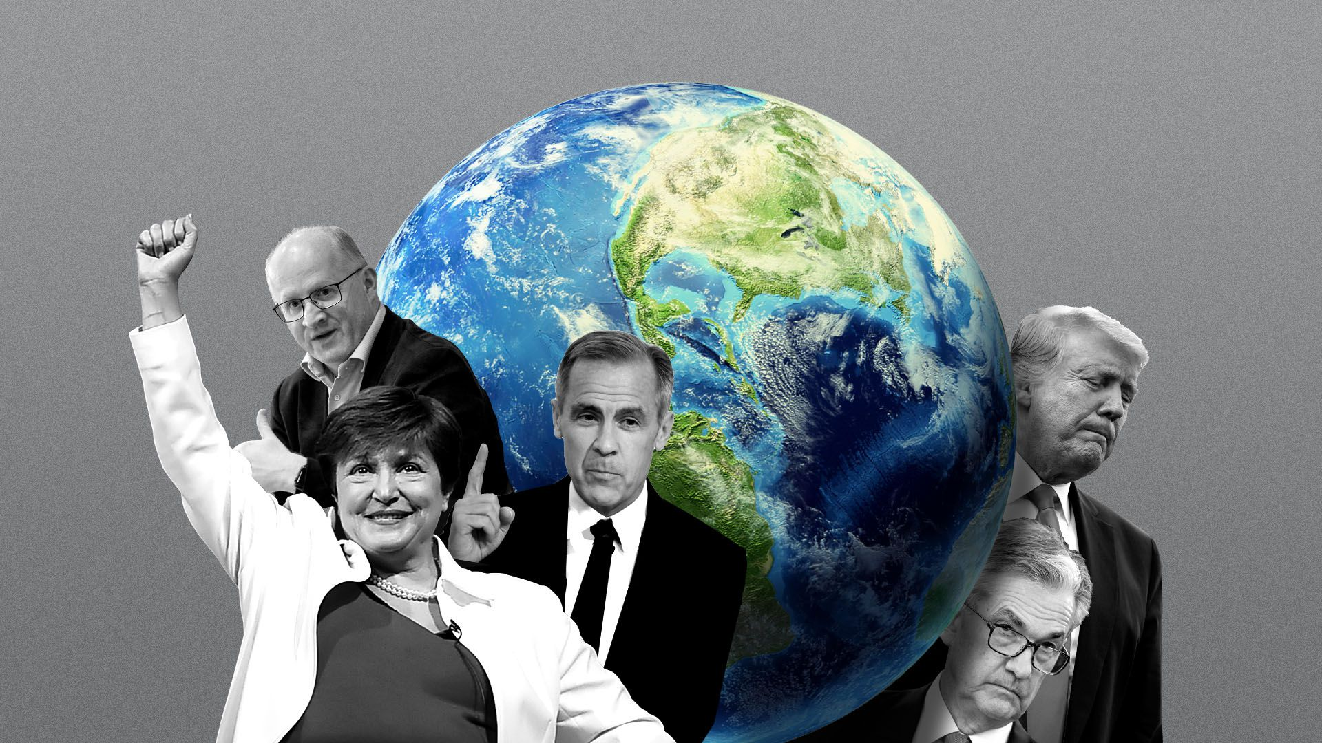 Photo illustration of a globe with President Trump and Jerome Powel on one side, and Kristalina Georgiewa, Philip Lane, and Mark Carney on the other.