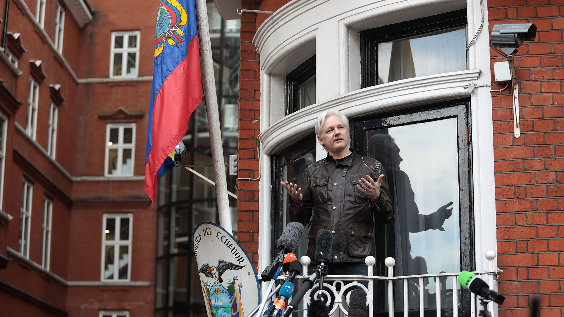Julian Assange on the balcony of the Ecuadorean Embassy in London