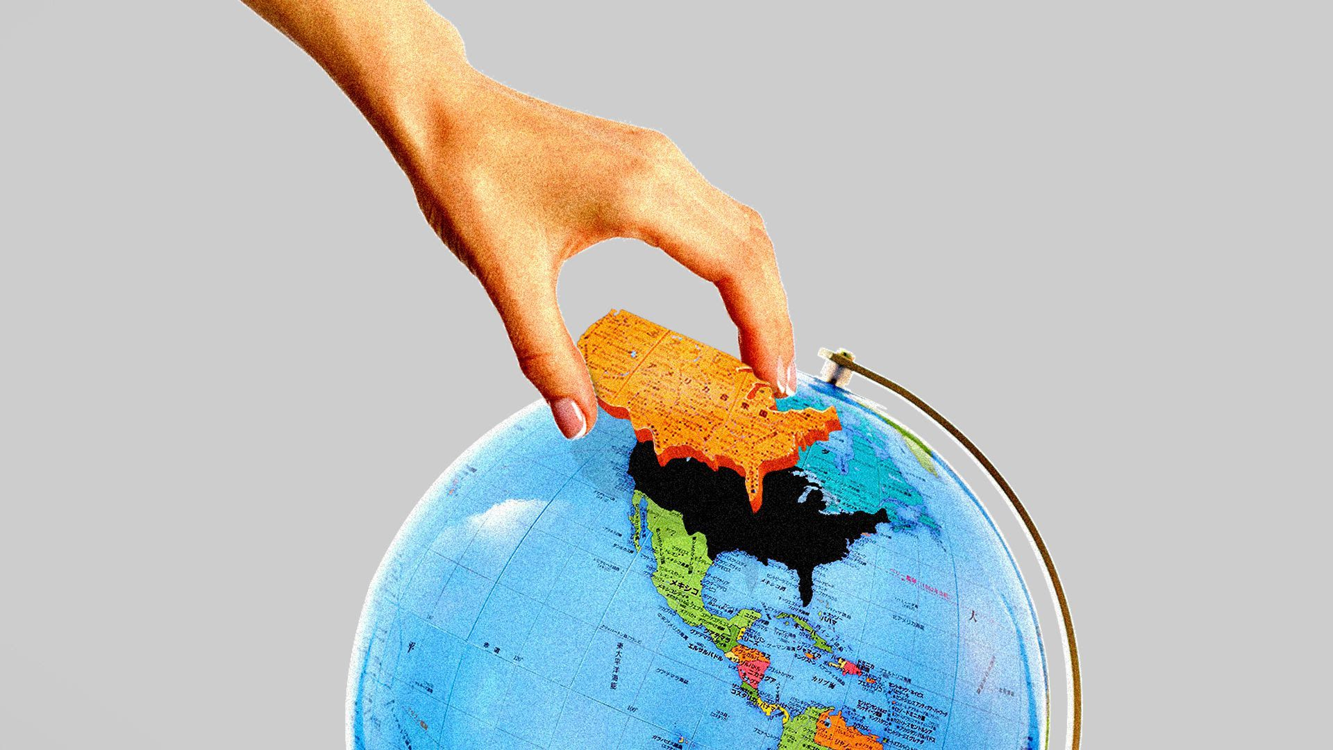 An illustration of the U.S. being taken off a globe