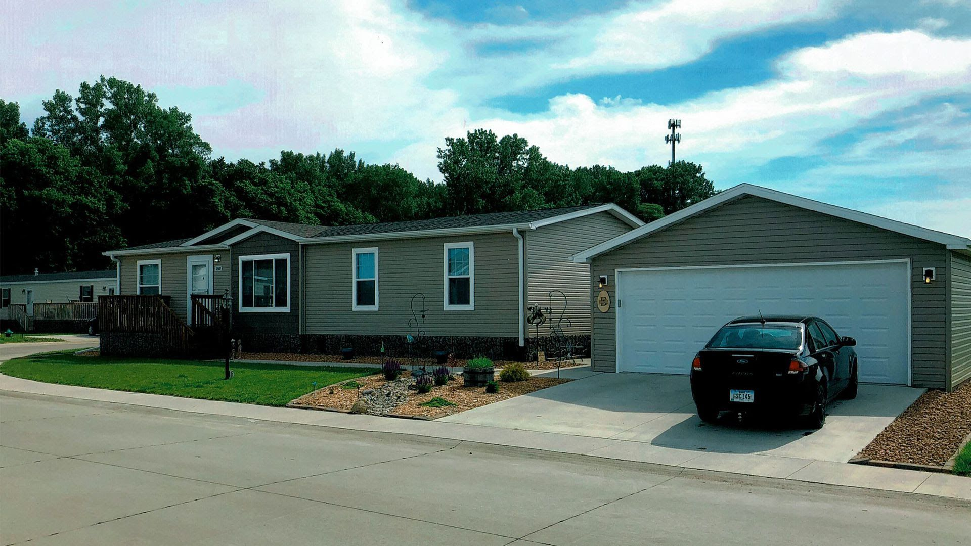 A photo of the exterior of a manufactured home.