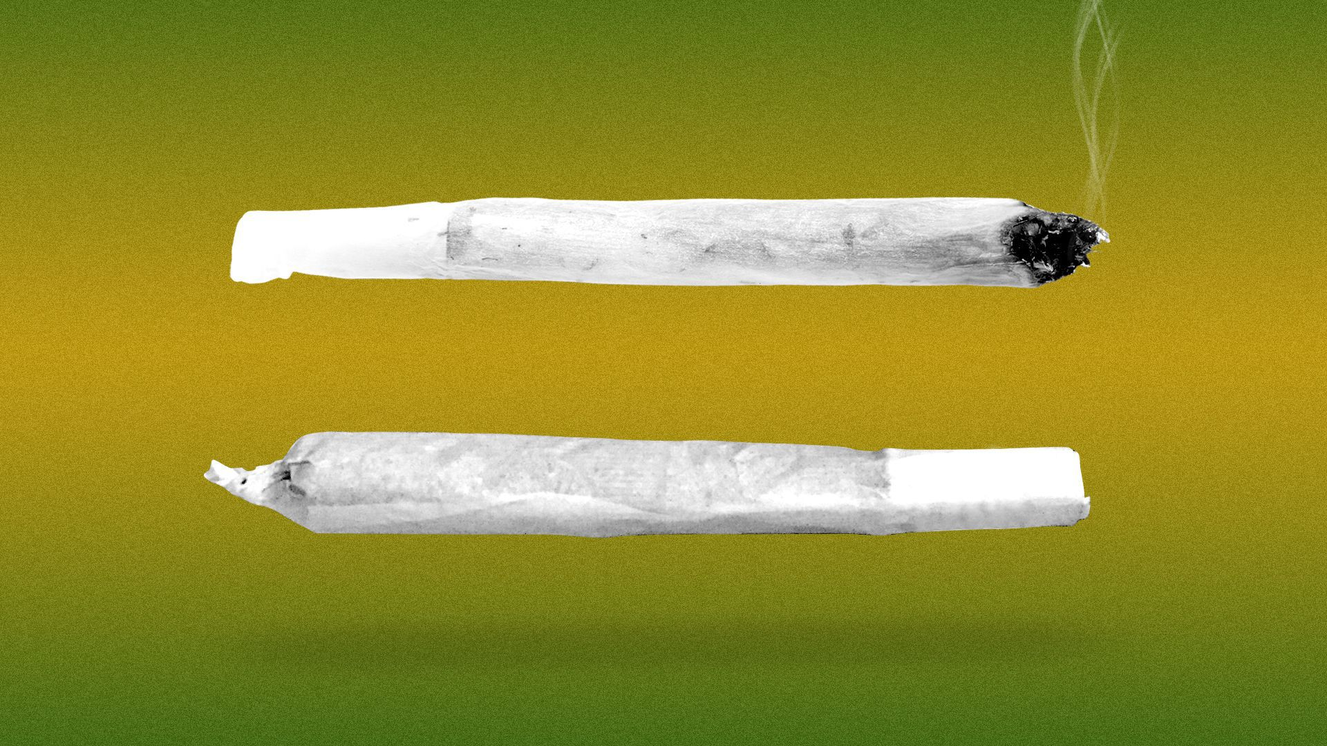Illustration of an equals sign made out of two marijuana joints.