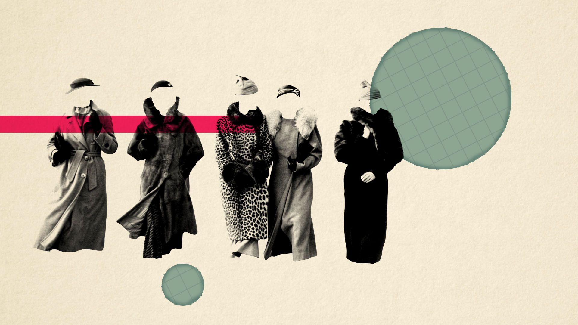 Illustration of five women in vintage clothing