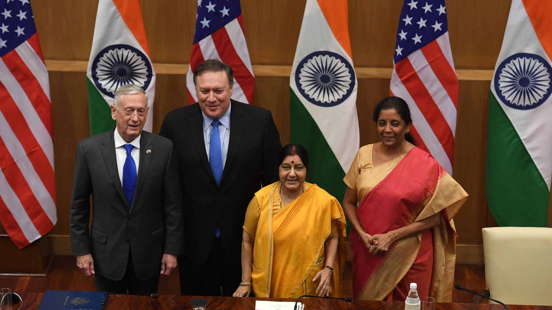 Mattis and Pompeo with their Indian counterparts at a press briefing