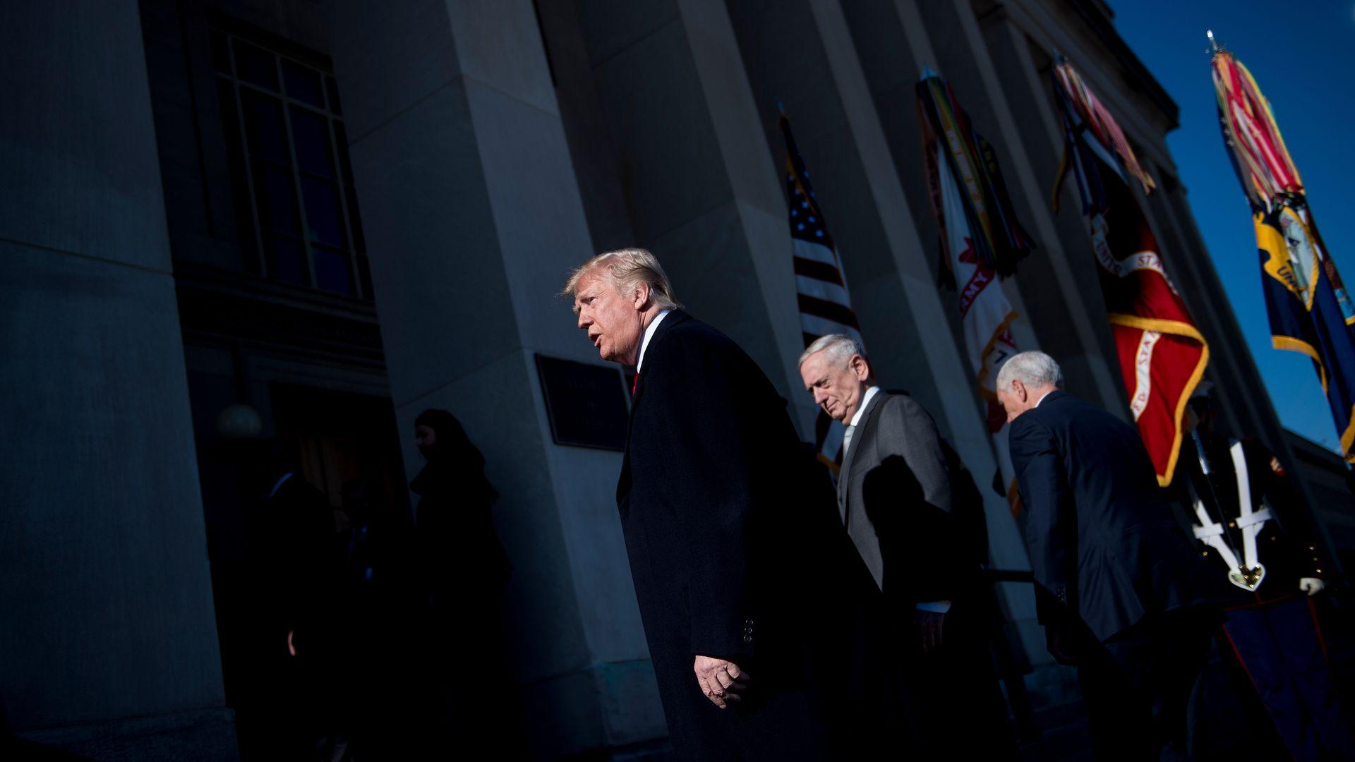 Trump, Mattis, and Pence.