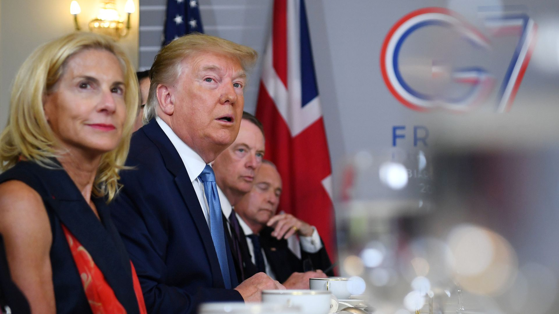 President Donald Trump attends a bilateral meeting at the G7