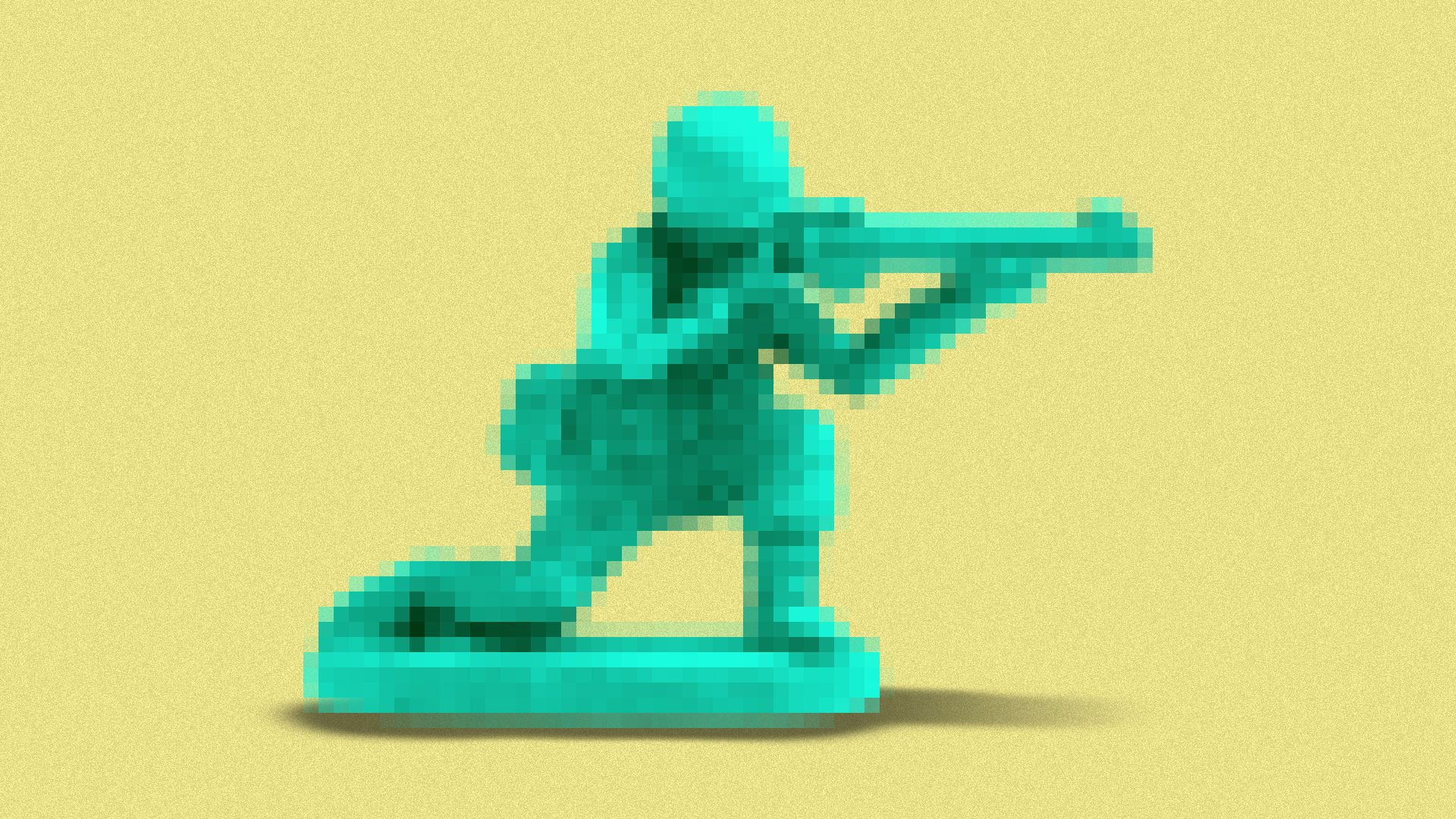 Illustration of a pixelated toy soldier.