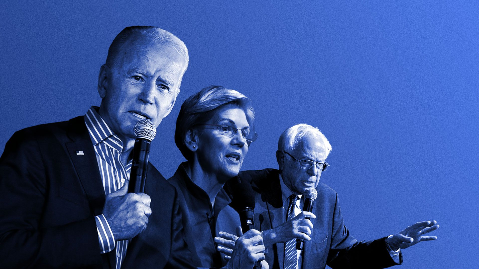 Illustration of Vice President Biden, and senators Warren and Sanders positioned as if  prepping for a race