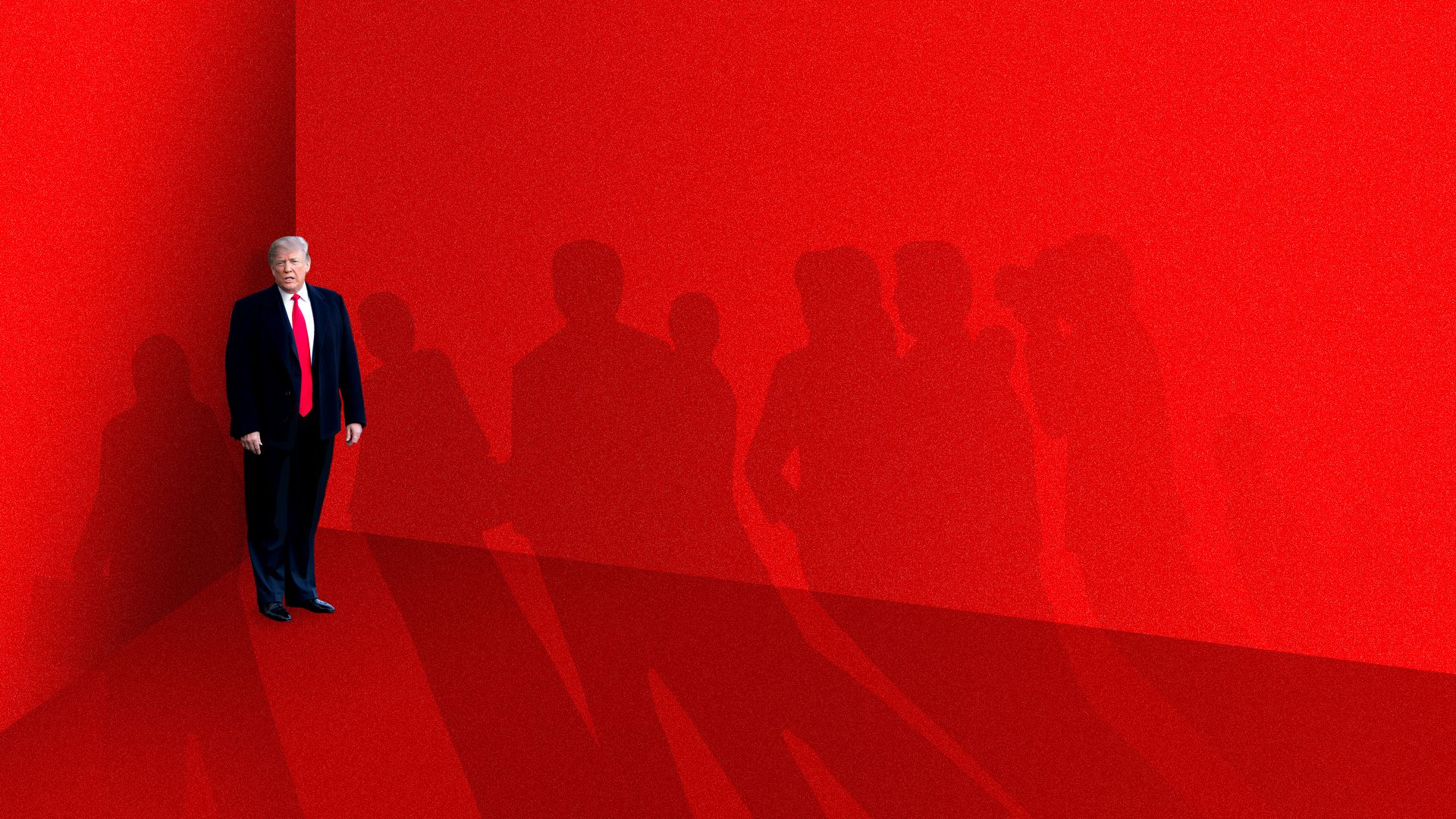 Illustration of President Trump in a corner with tall shadows of other people looming before him