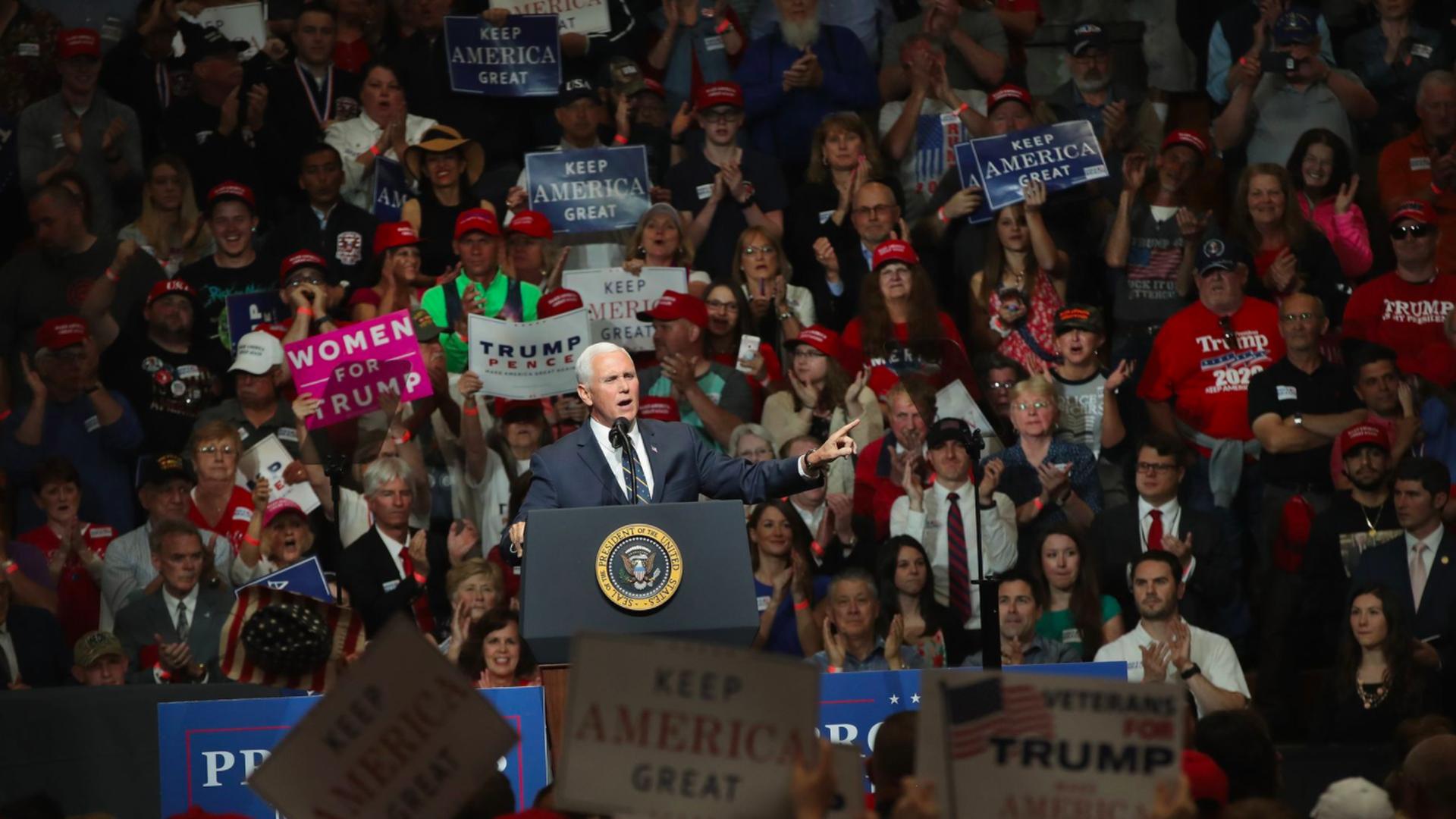 Pence on stage among rally-goers