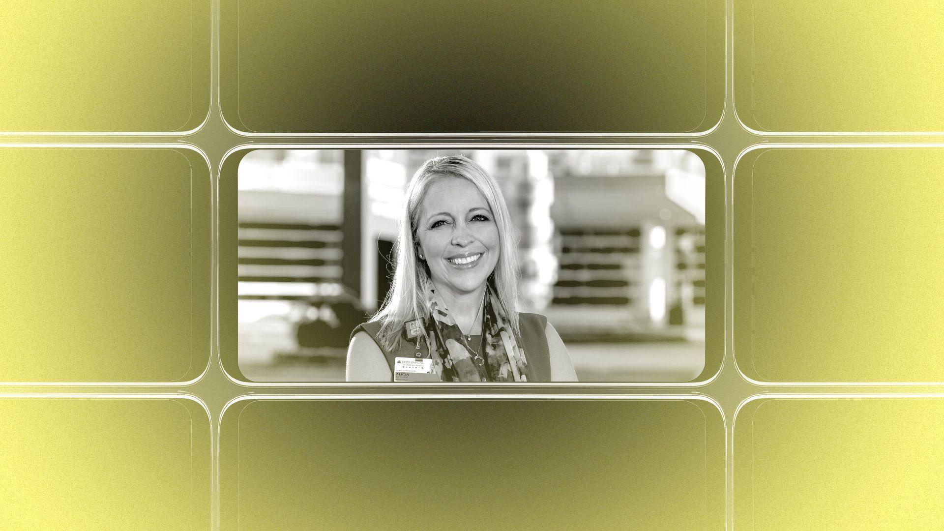 Photo illustration of a headshot of K. Alicia Schulhof.