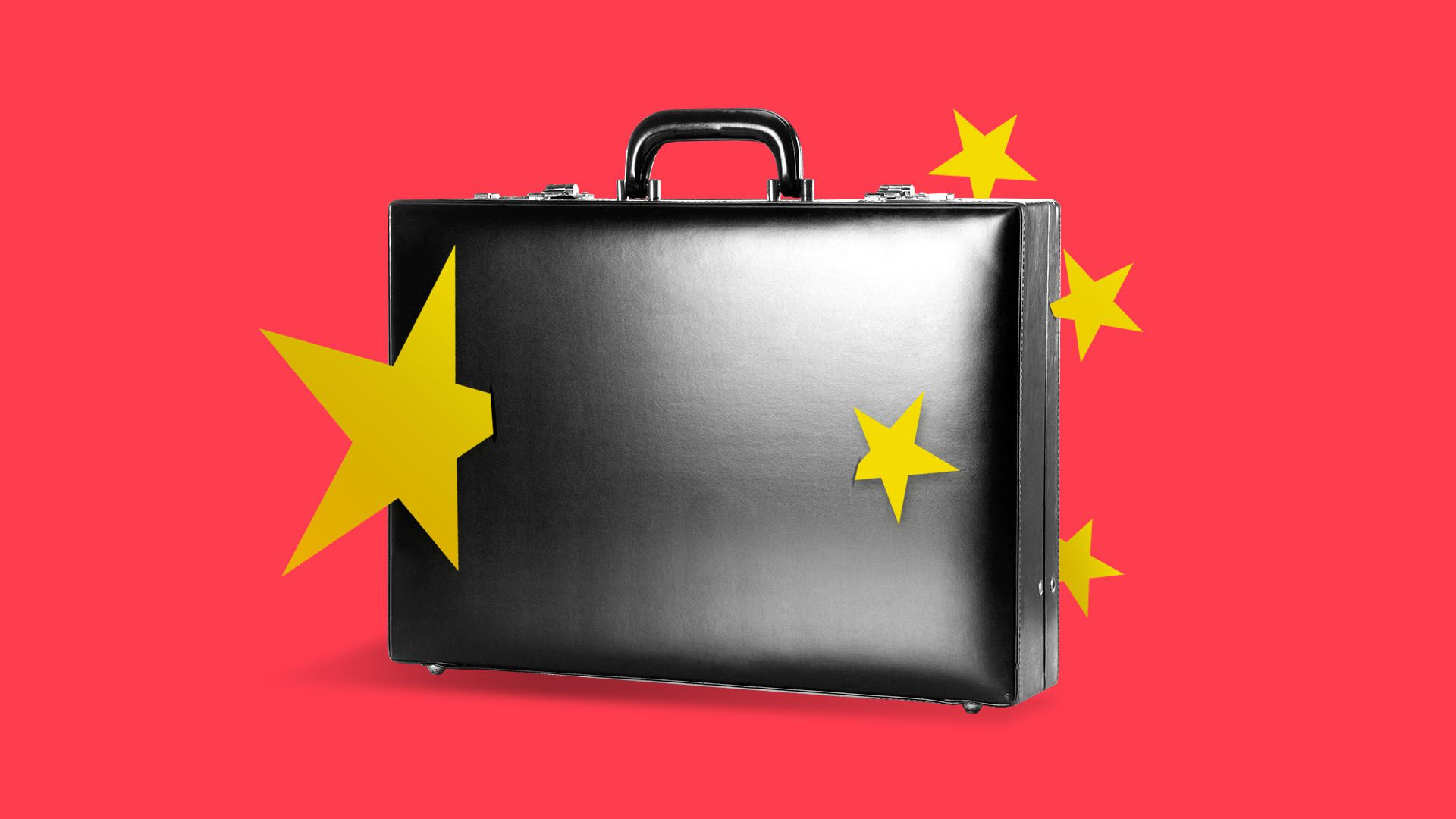 A briefcase with Chinese stars stuck in it