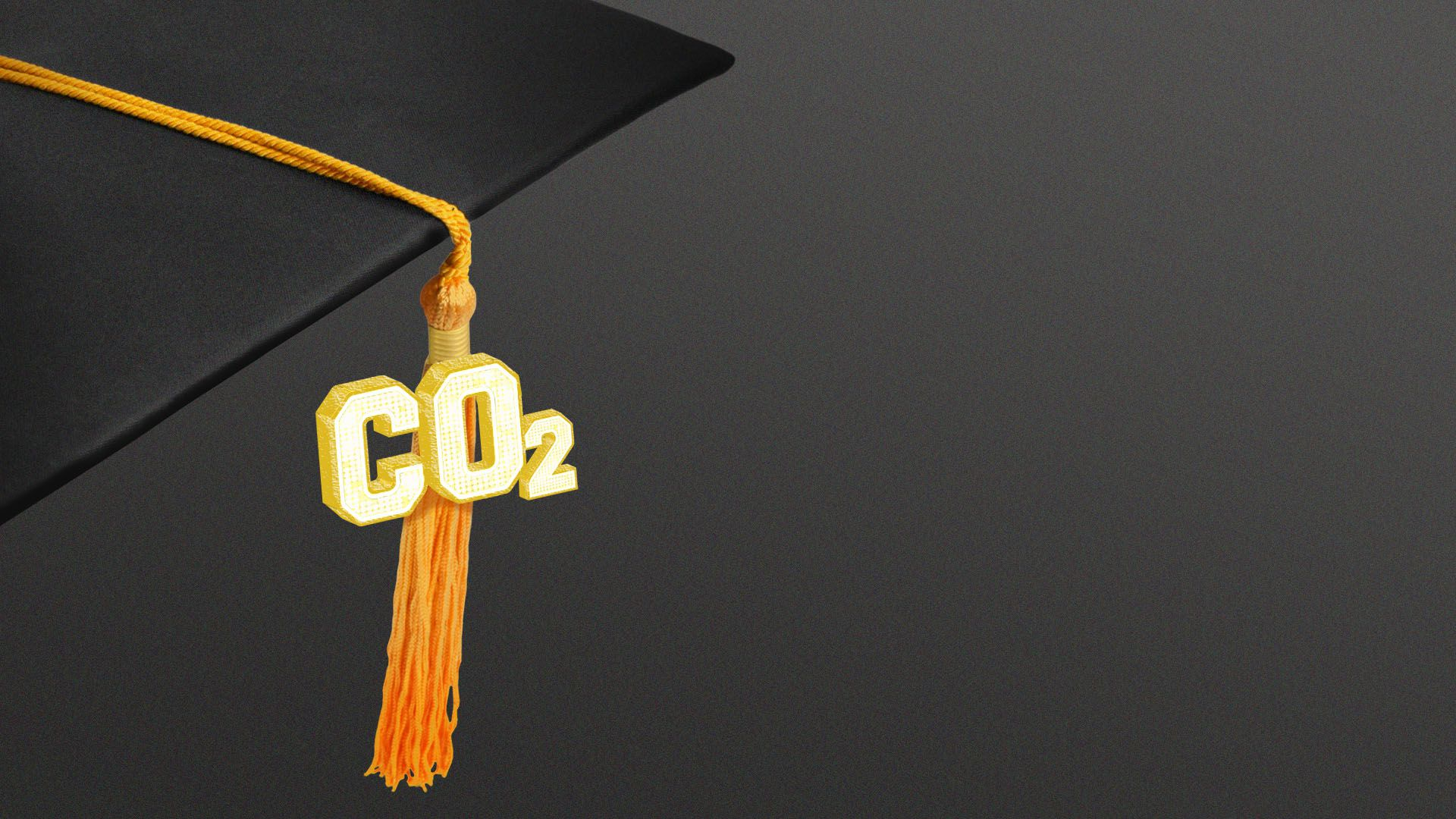Illustration of a graduation cap tassel with CO2 on it