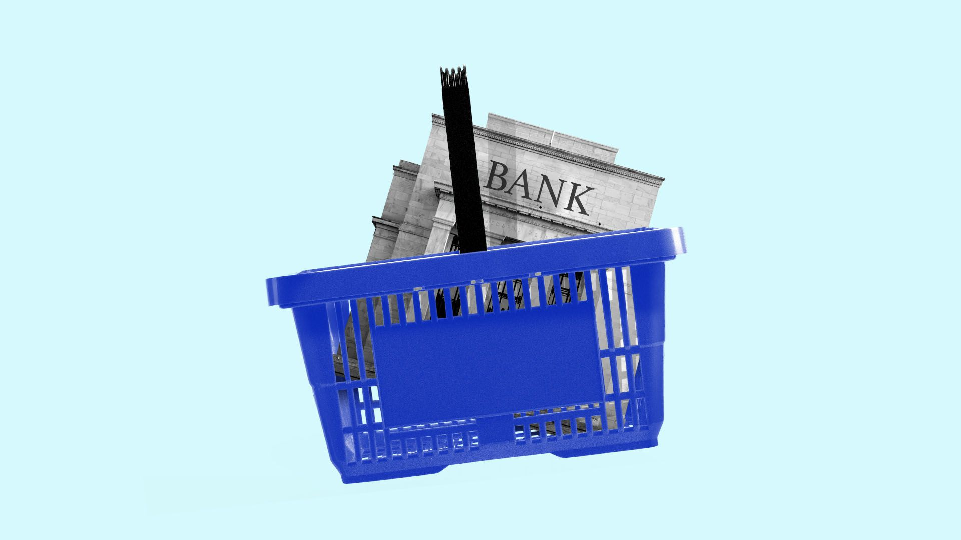 llustration of a supermarket basket with a bank inside
