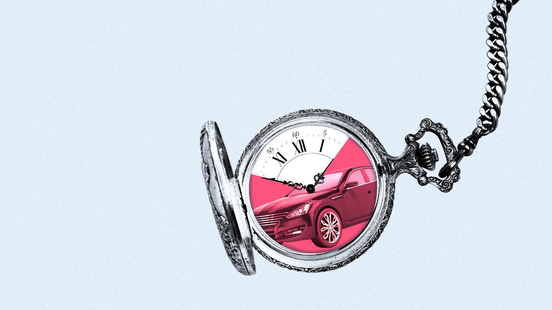 Illustration of a pocket watch with a car reflected in its face