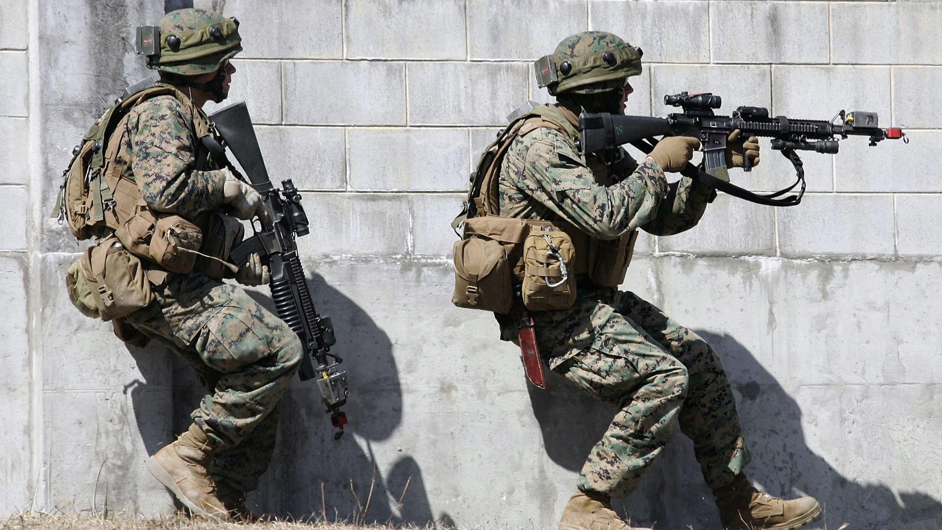 U.S Marine Corps officers participate in military exercise.