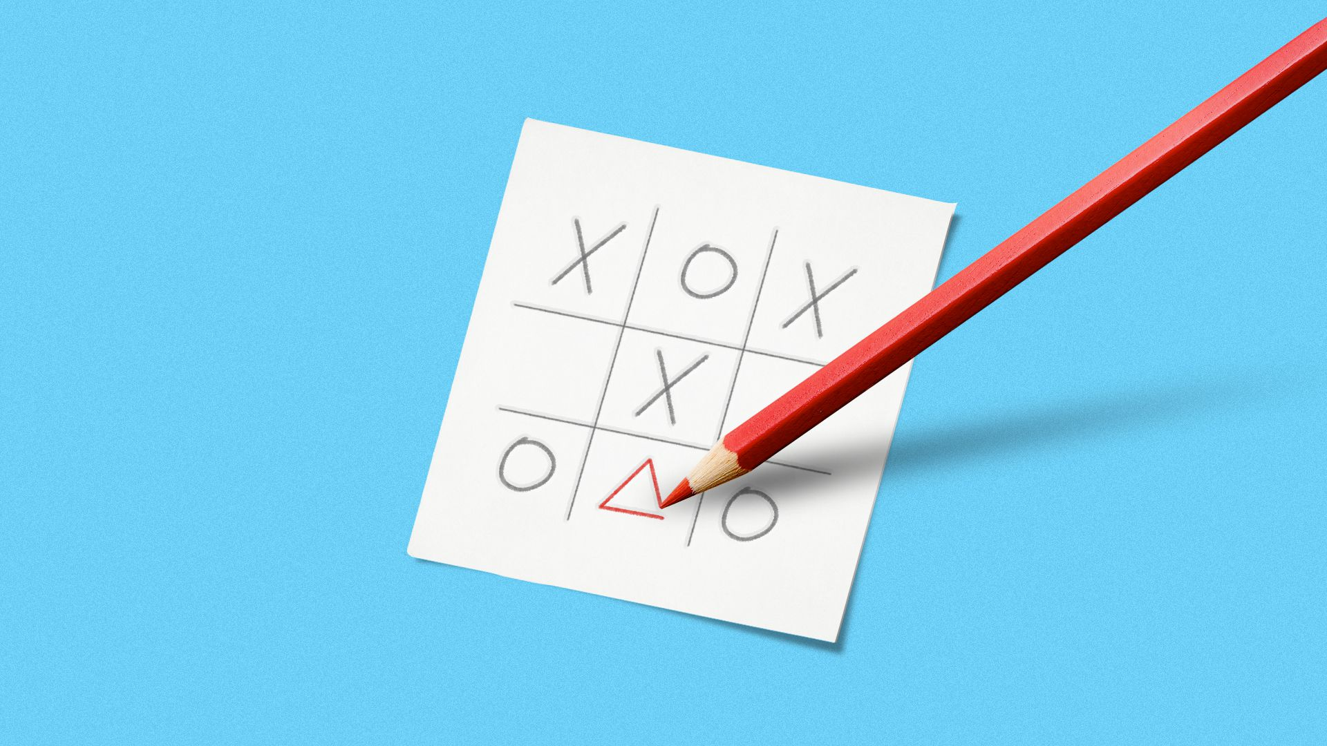 Illustration of a tic-tac-toe game with a pencil drawing a triangle in the grid.
