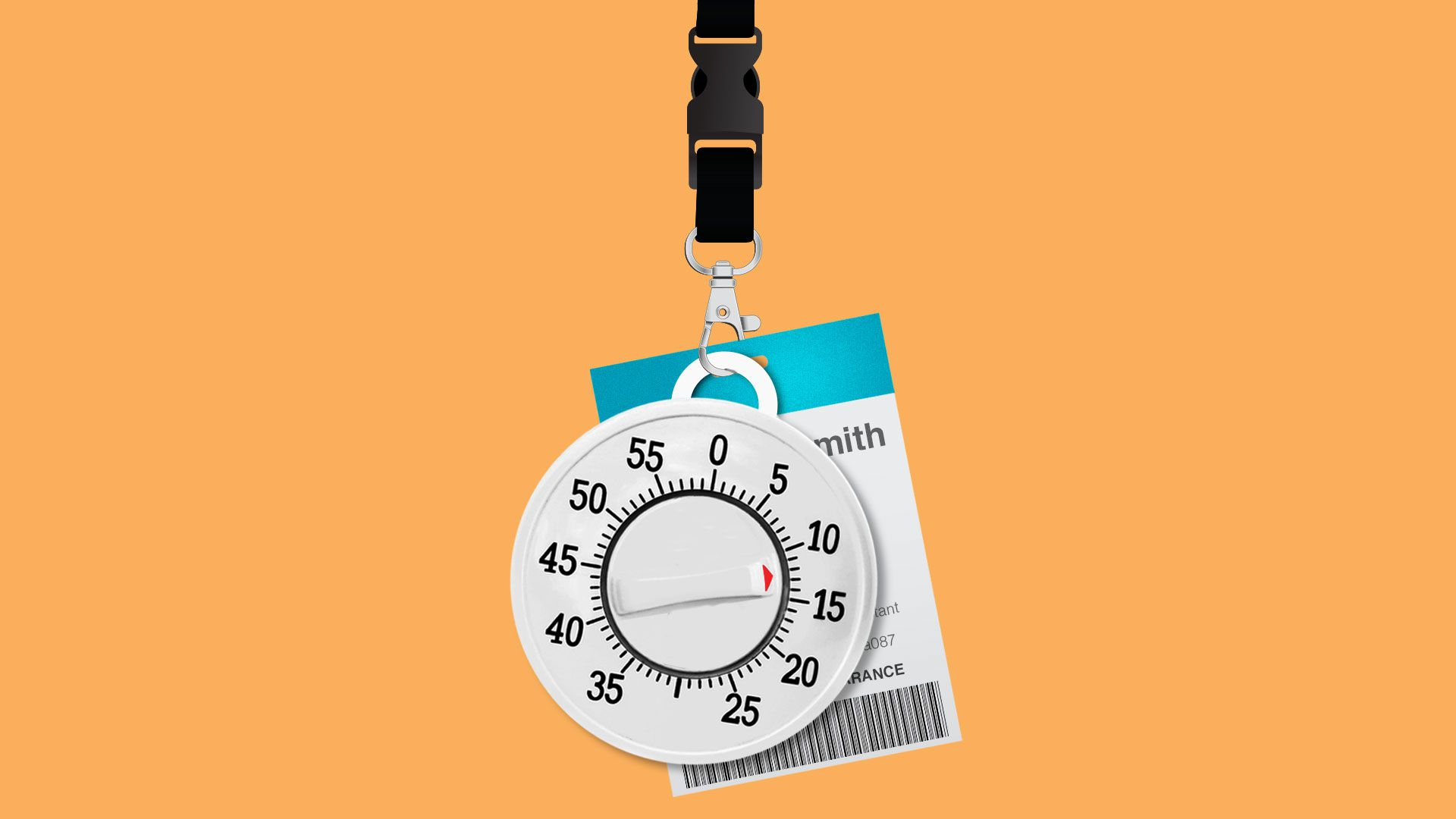 Illustration of an employee badge and egg timer on a lanyard.