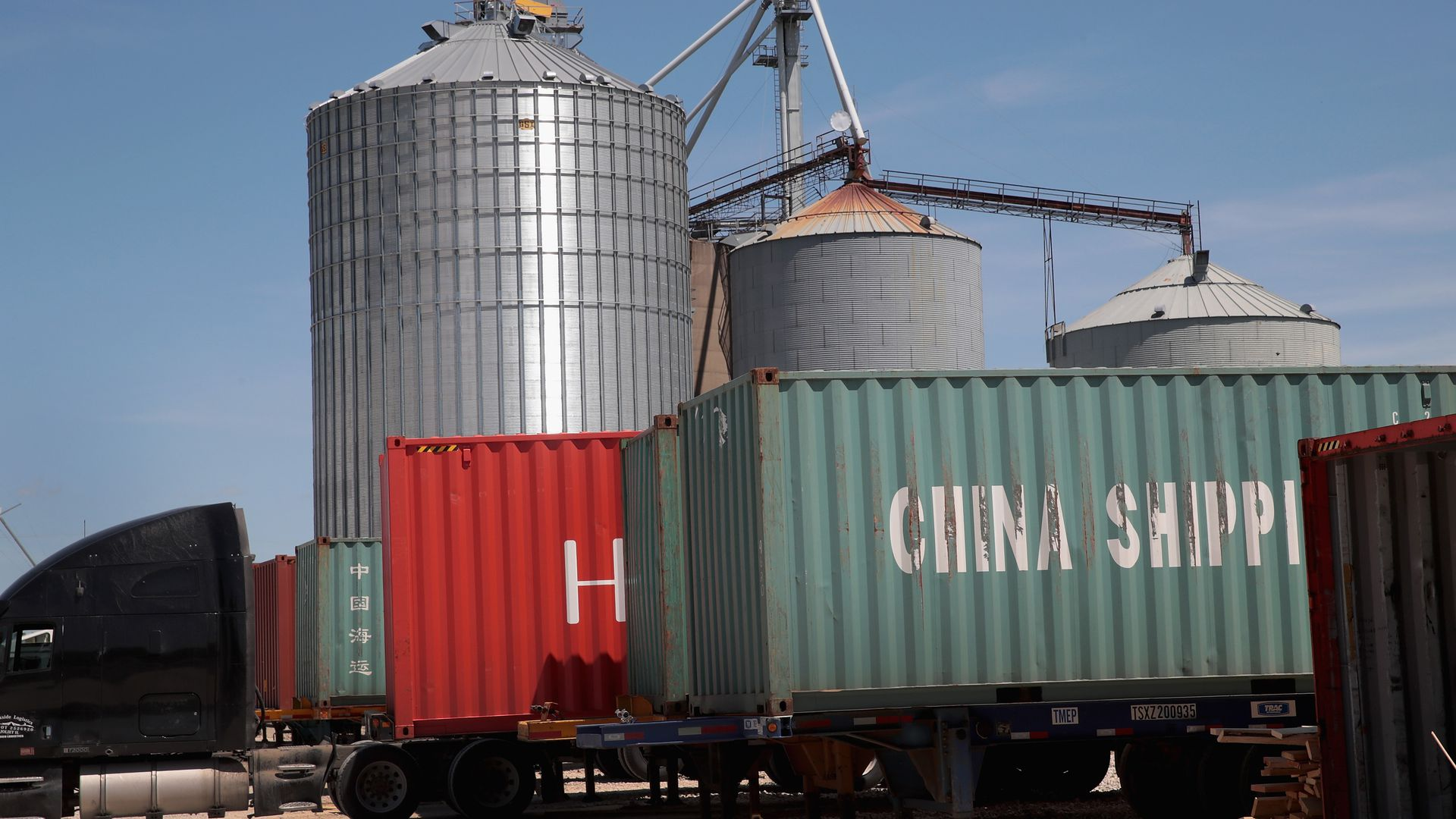 Chinese shipping containers transporting U.S. soybeans