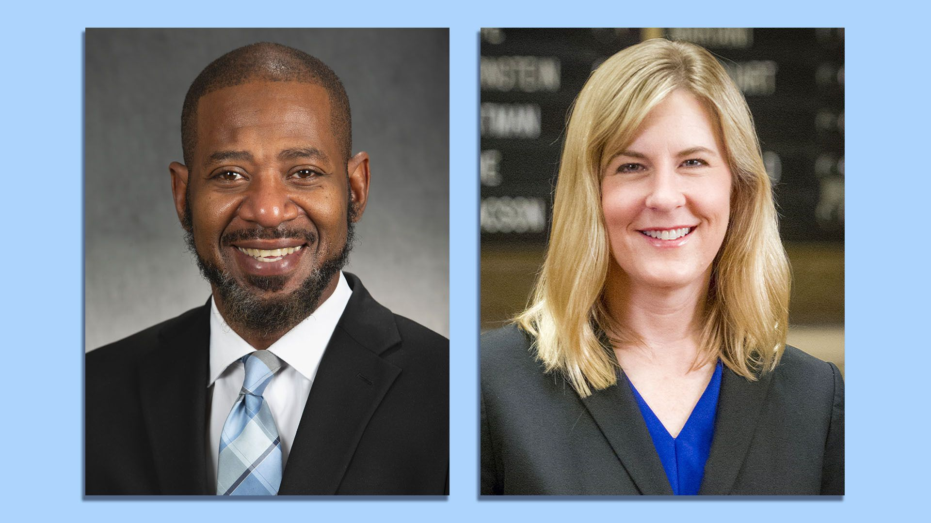Two headshots of Minnesota Rep. John Thompson and House Speaker Melissa Hortman.