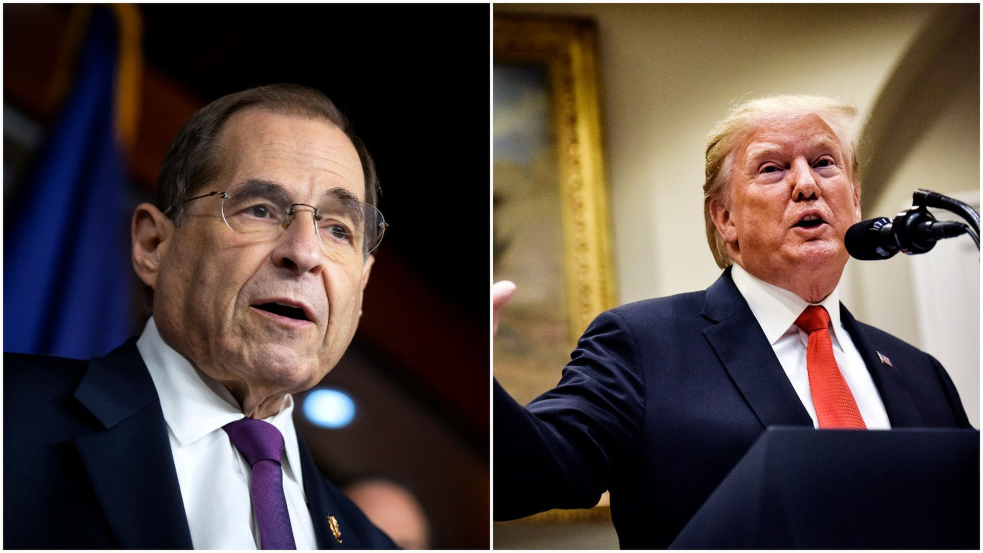 This image is a two-way splitscreen between Nadler and Trump.