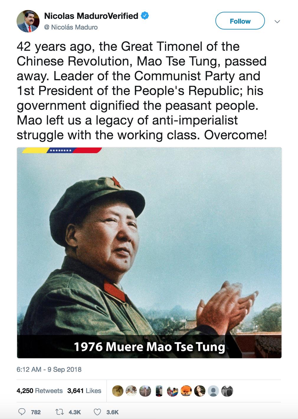 Screenshot of Venezuela President Maduro's tweet about Mao