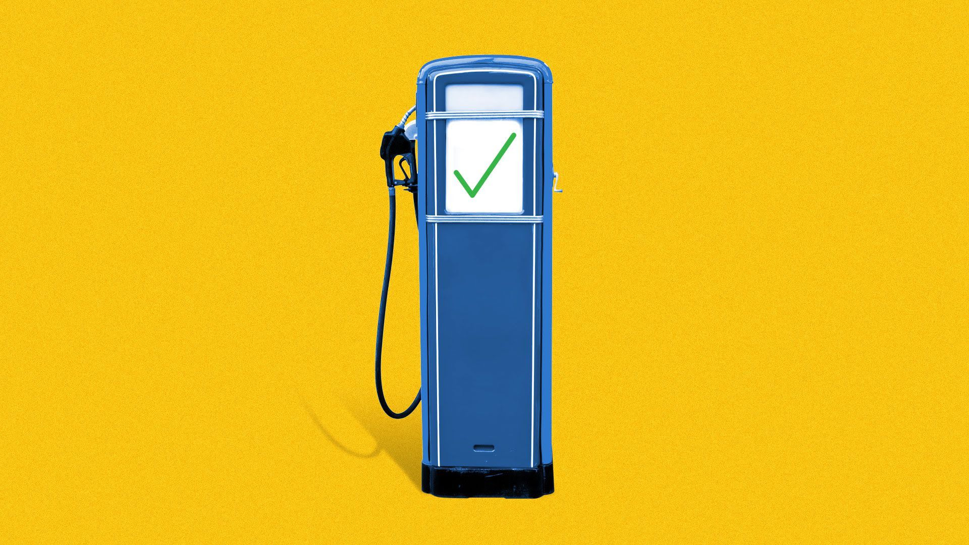 Illustration of a gas pump with a green check mark on it