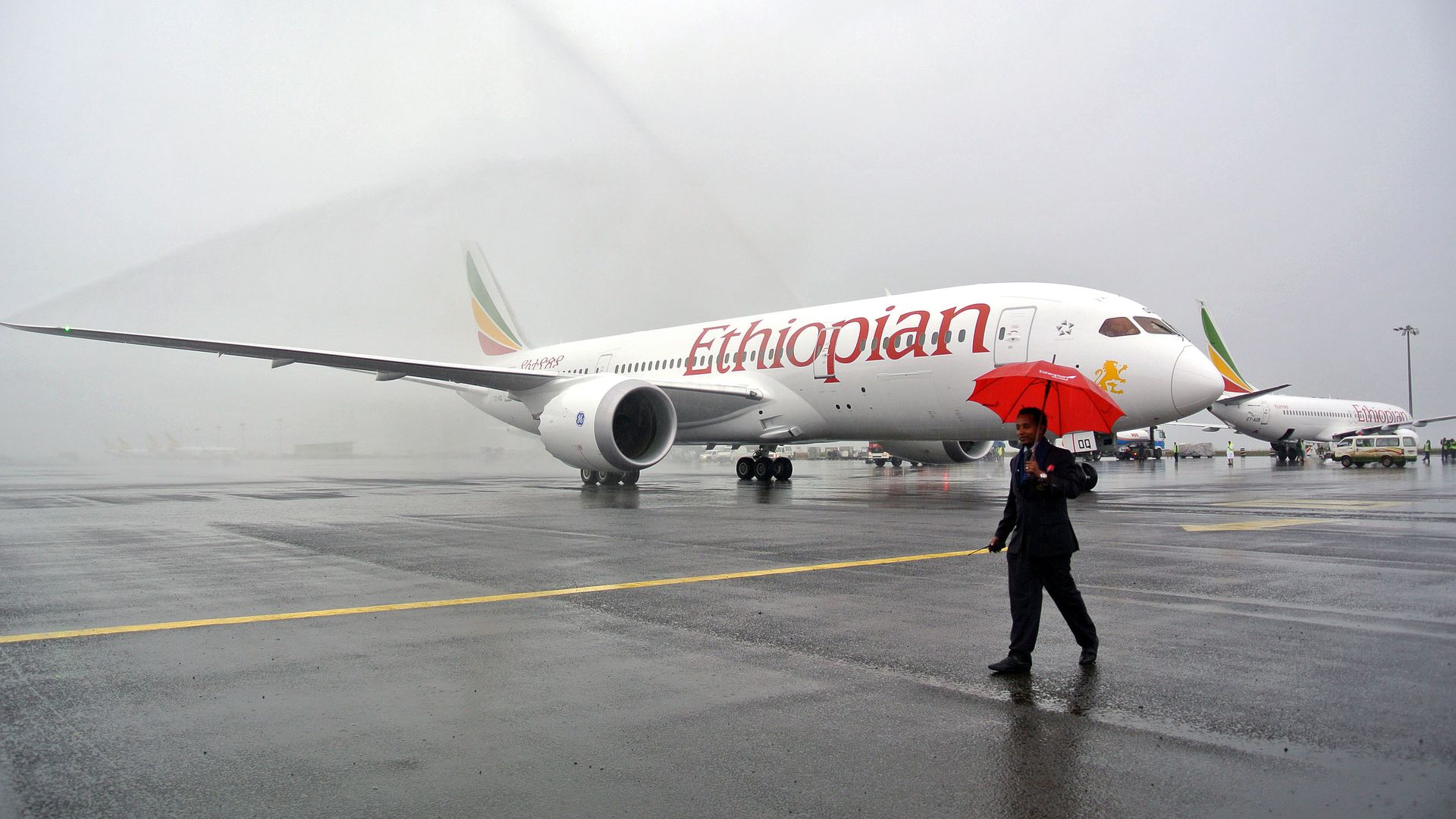 A Boeing 787 Dreamliner is hosed down on arrival in Addis Ababa on August 17, 2012.