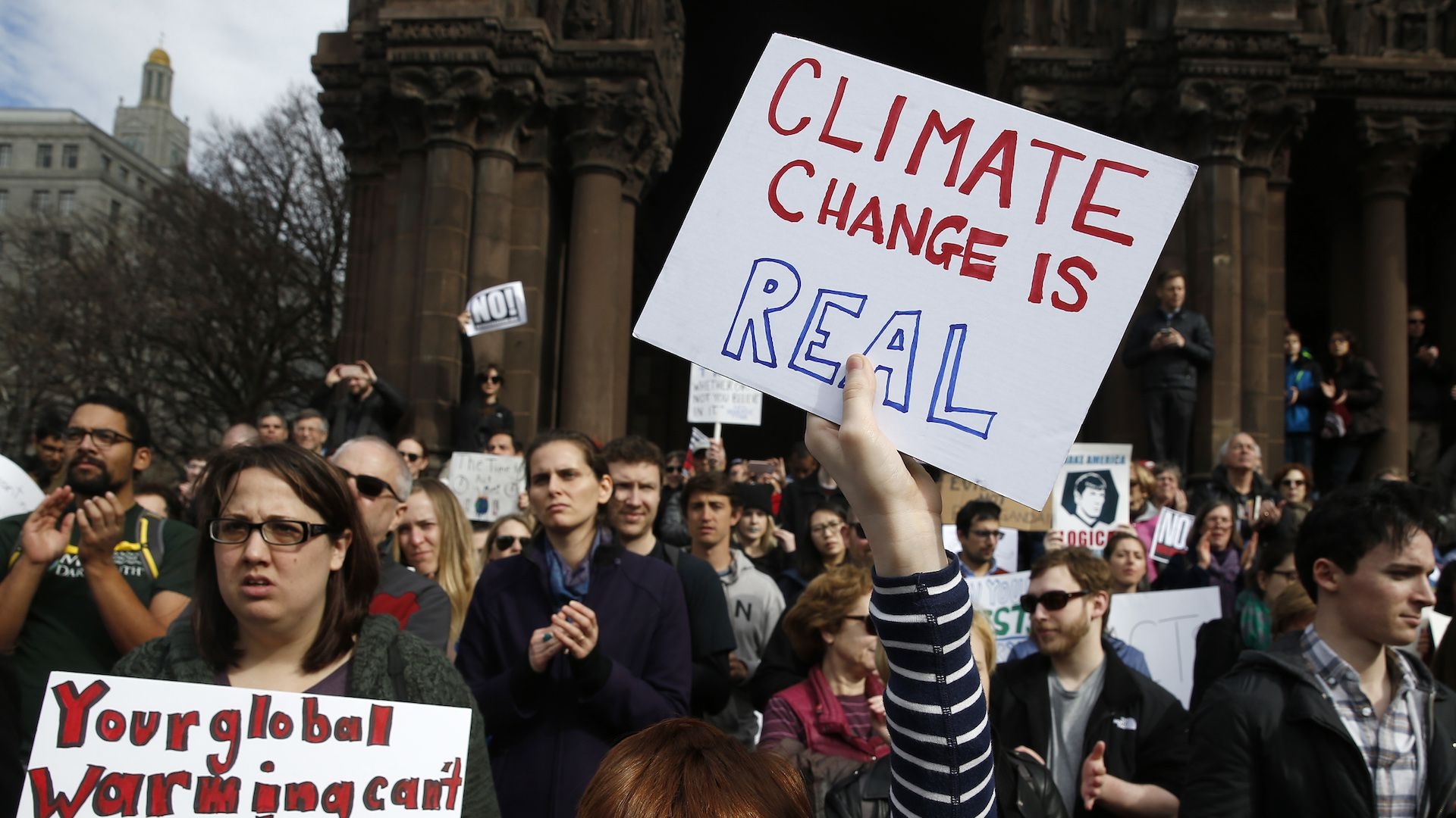 President Trump says climate scientists disagree about what is causing global warming.
