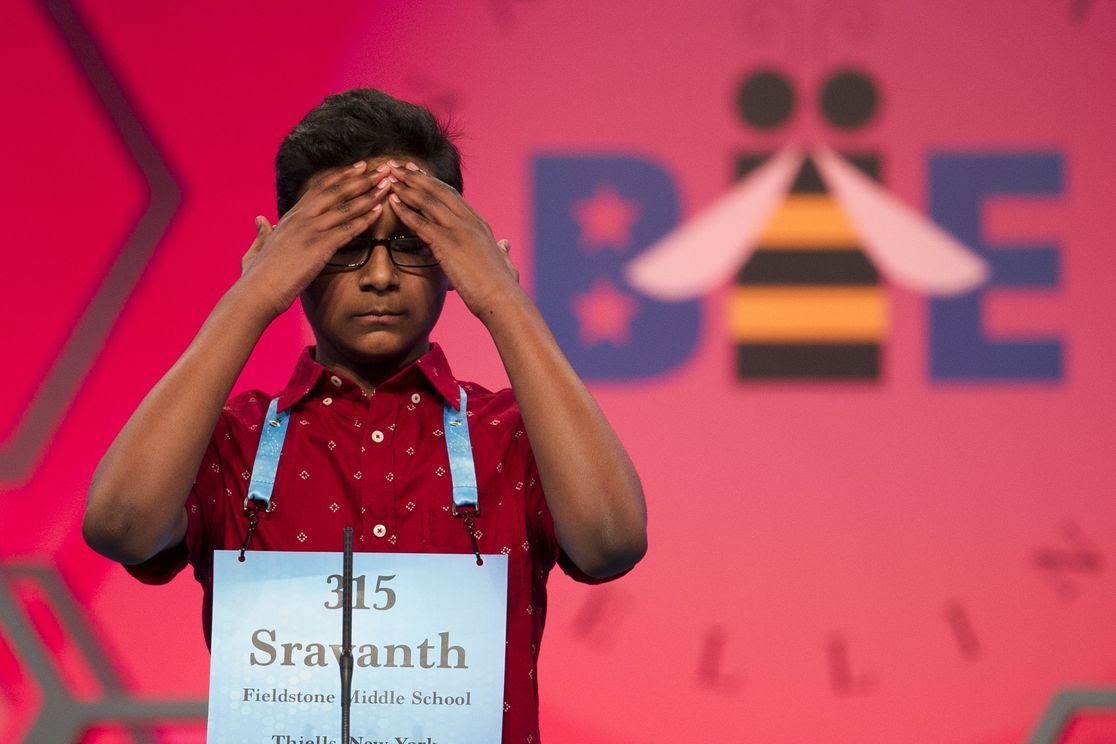 Contestant Sravanth Malla, 14, puts his hands to his head in defeat