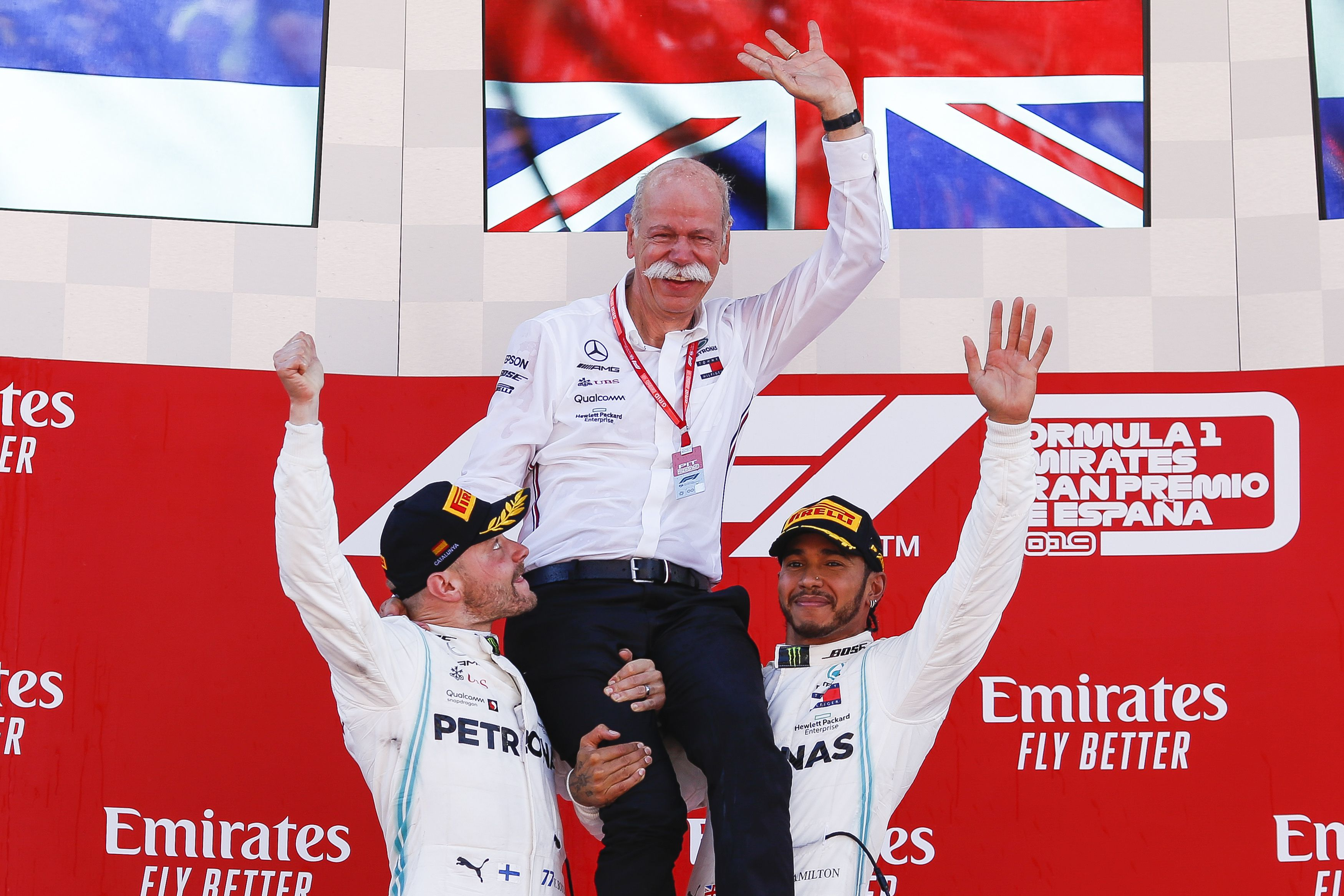 The Mercedes team celebrates yet another win
