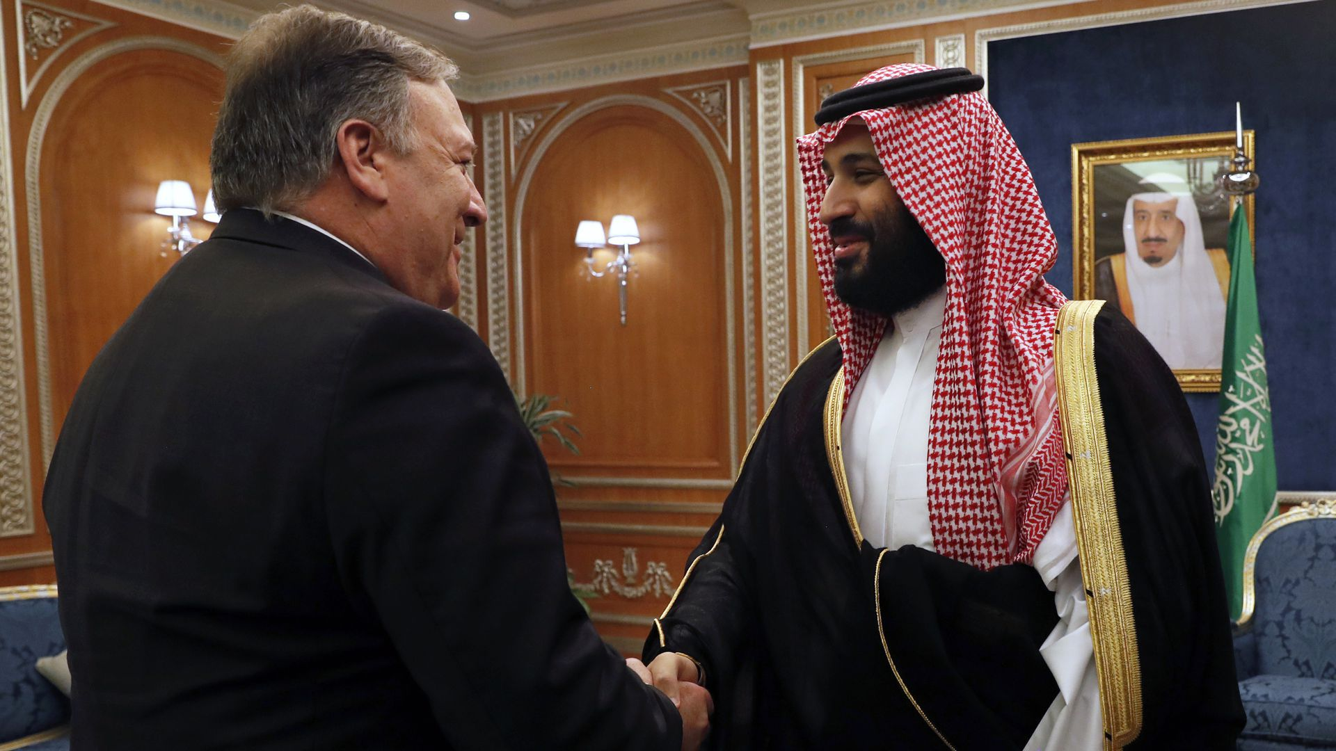 Sec. of State Mike Pompeo greets Mohammed bin Salman