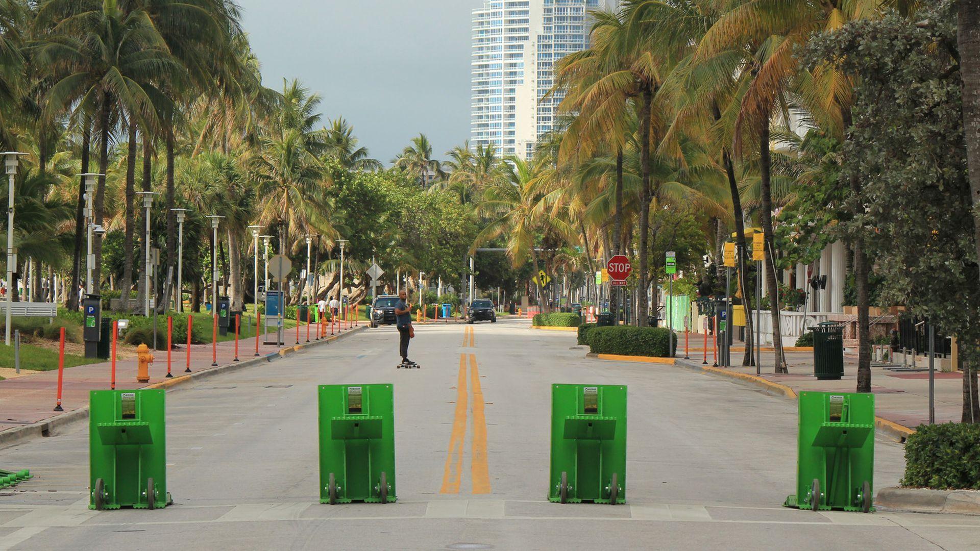 Vehicle barricades used in Miami Beach