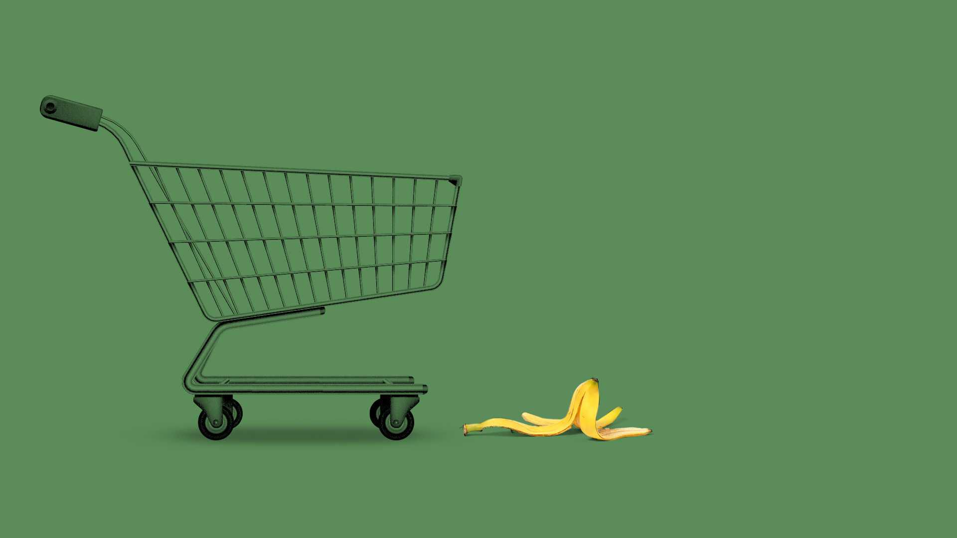 Shopping cart approaching a banana peel.