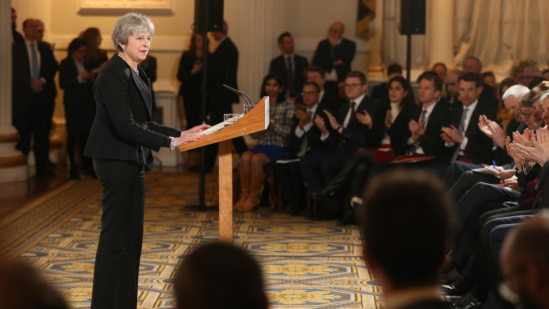 British Prime Minister Theresa May delivers her latest Brexit speech at Mansion House on March 2, 2018, in London, England.