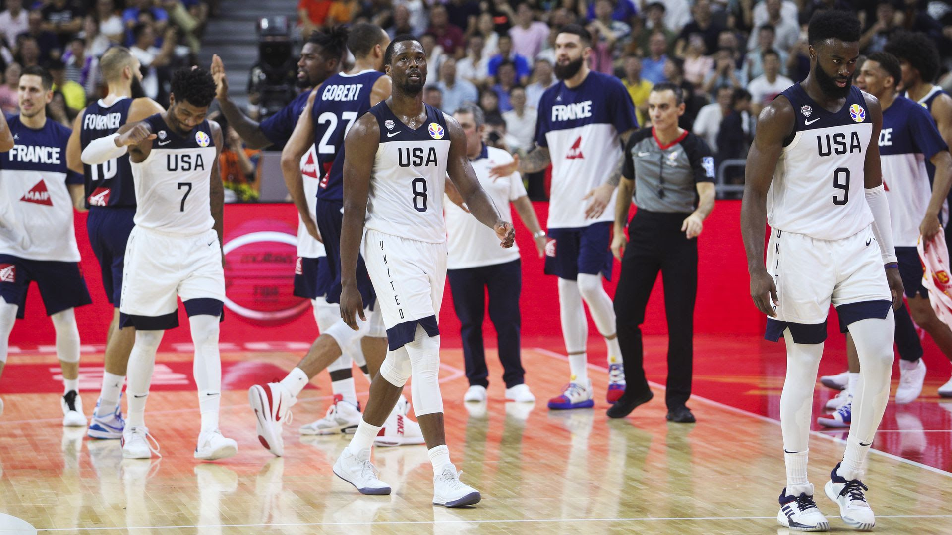 Team USA and Team France during the 2019 basketball world cup