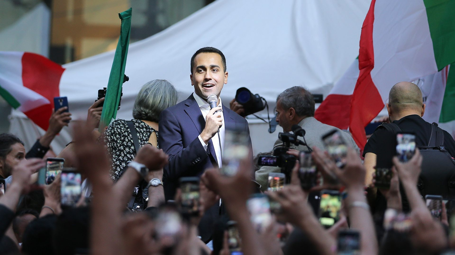 Political leader of the 5 Star Movement, Luigi Di Maio, speaks to the crowd during a meeting in Naples